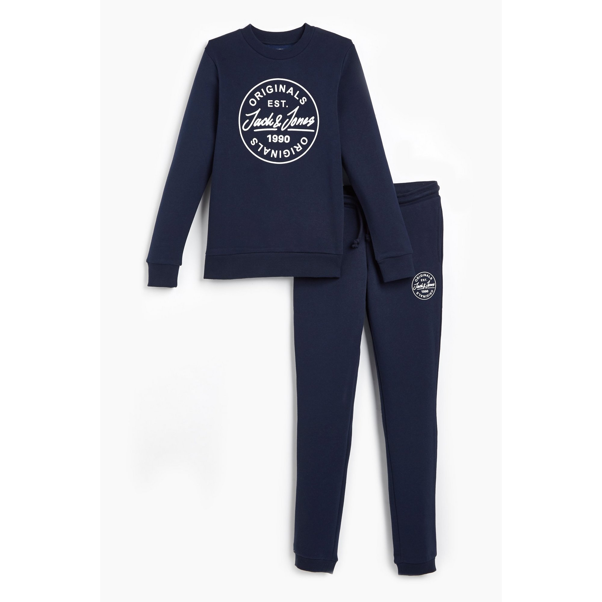 Image of Boys Jack and Jones Joremore Navy Crew Neck and Sweat Pants
