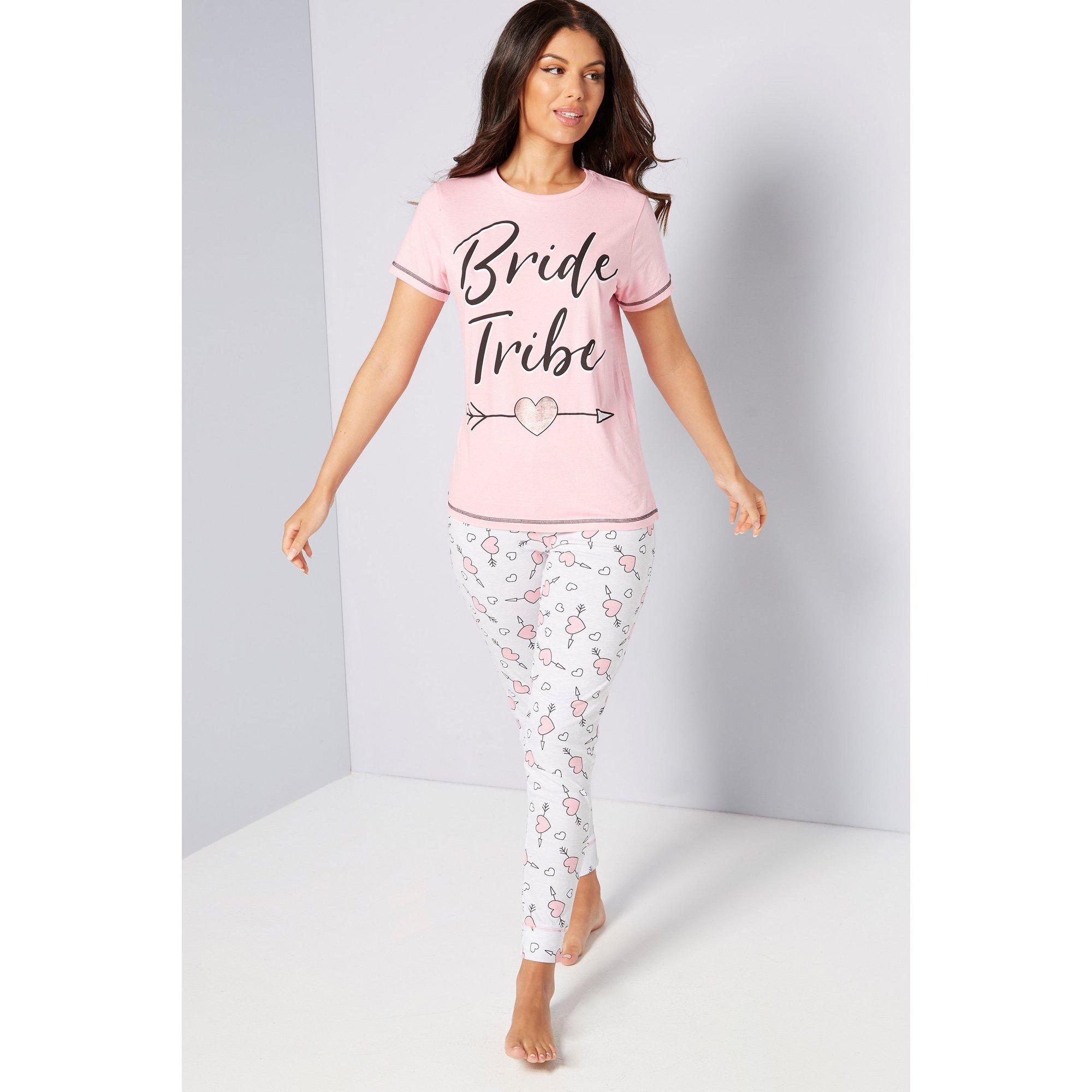 Image of Bride Tribe Slogan Pink T-Shirt Pyjamas