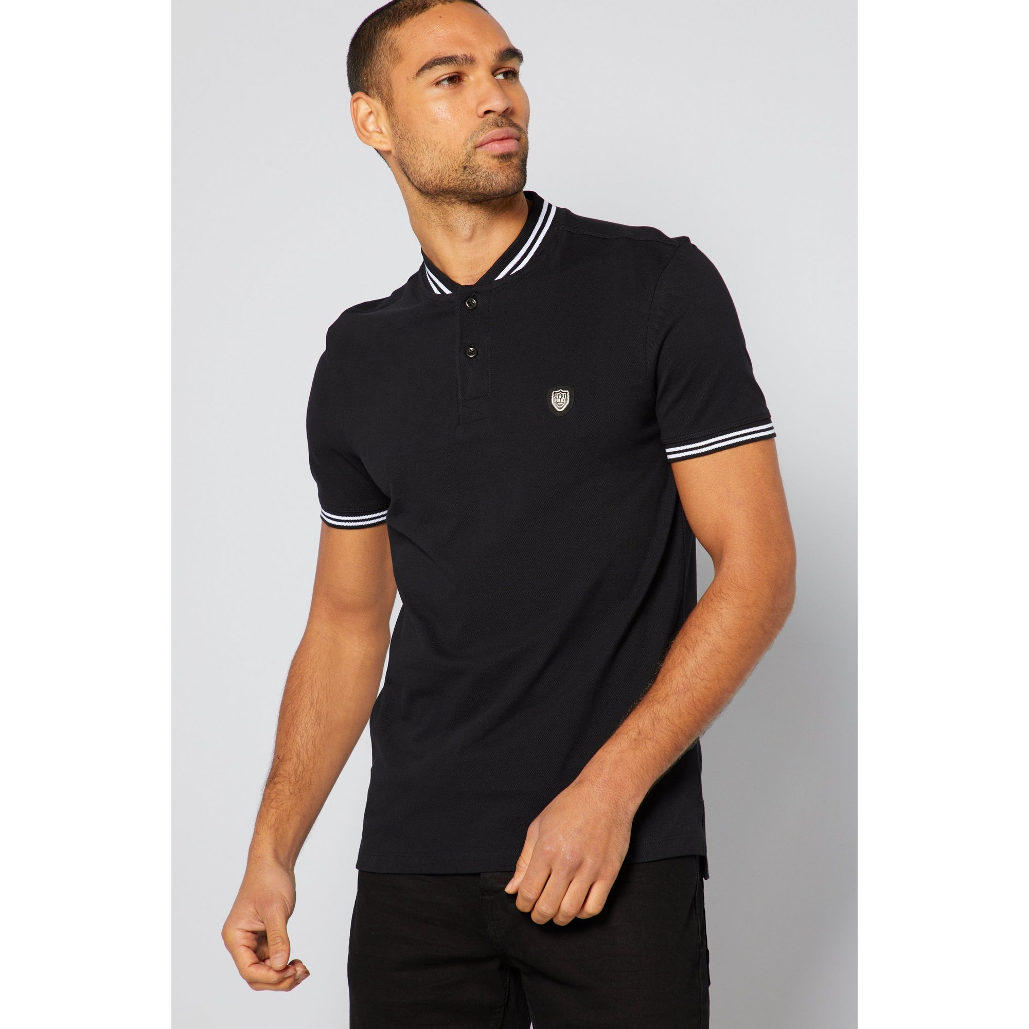 Image of 883 Police Tipped Black Polo Shirt