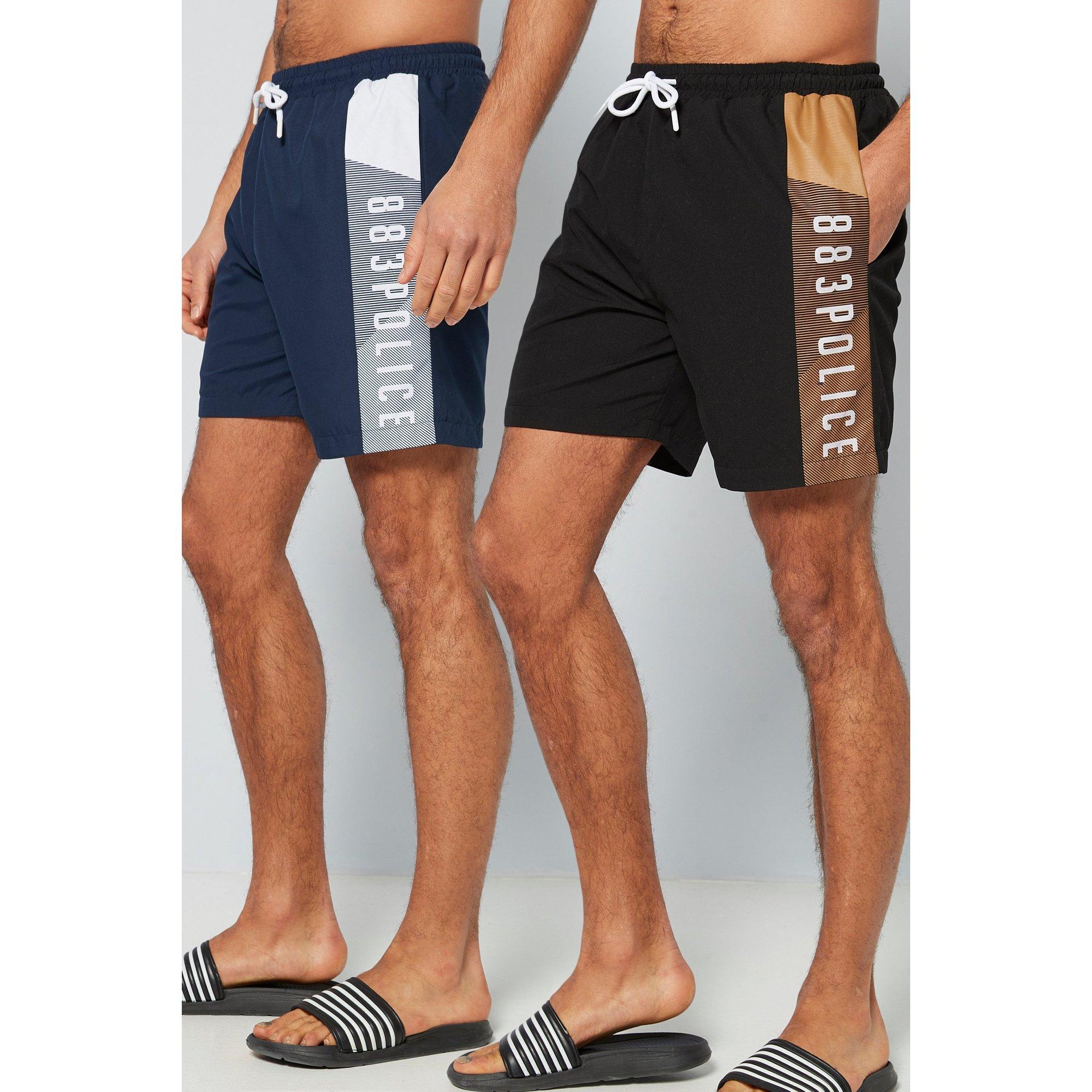 Image of 883 Police Pack of 2 Black/Navy Swim Shorts