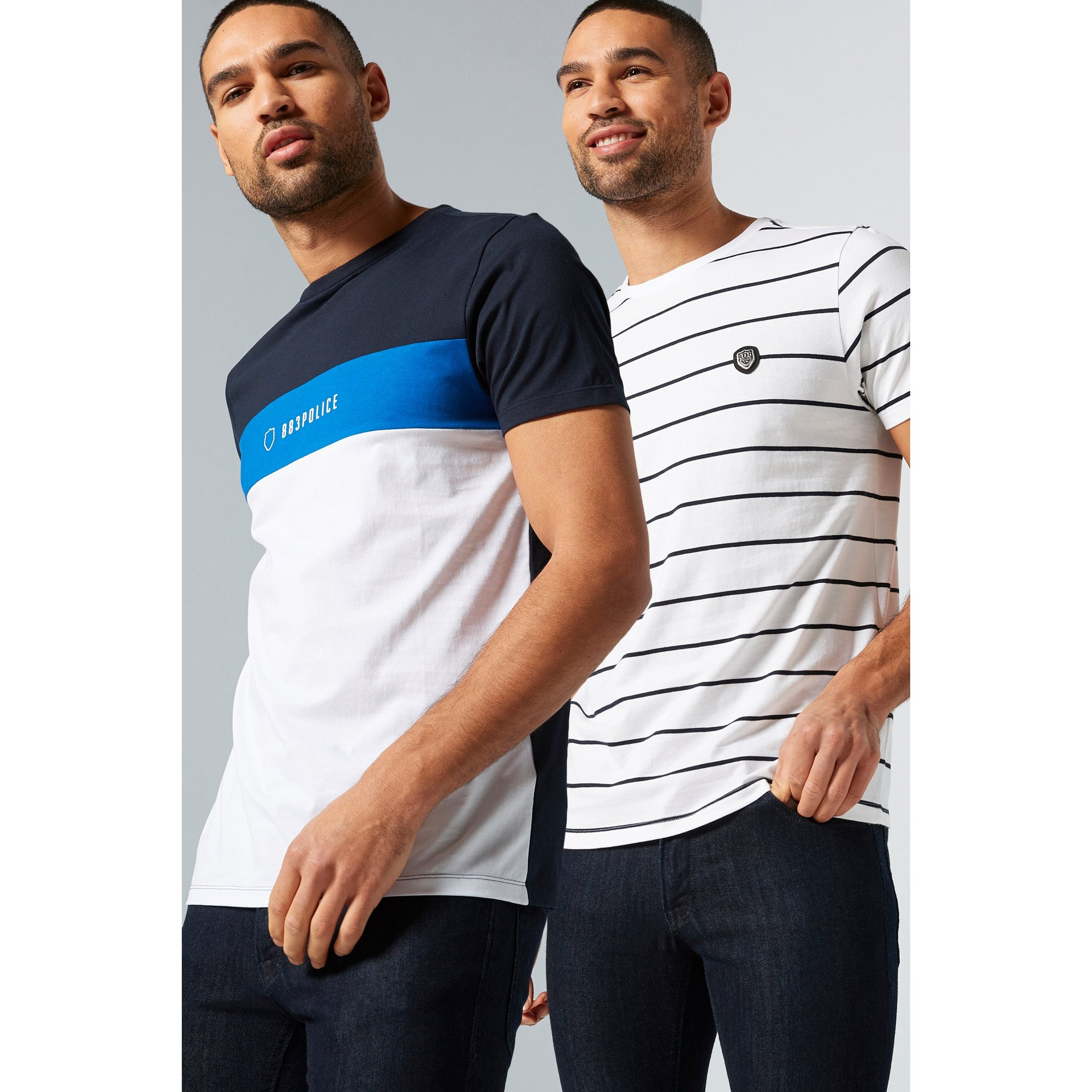 Image of 883 Police Pack of 2 White/Blue Stripe T-Shirts
