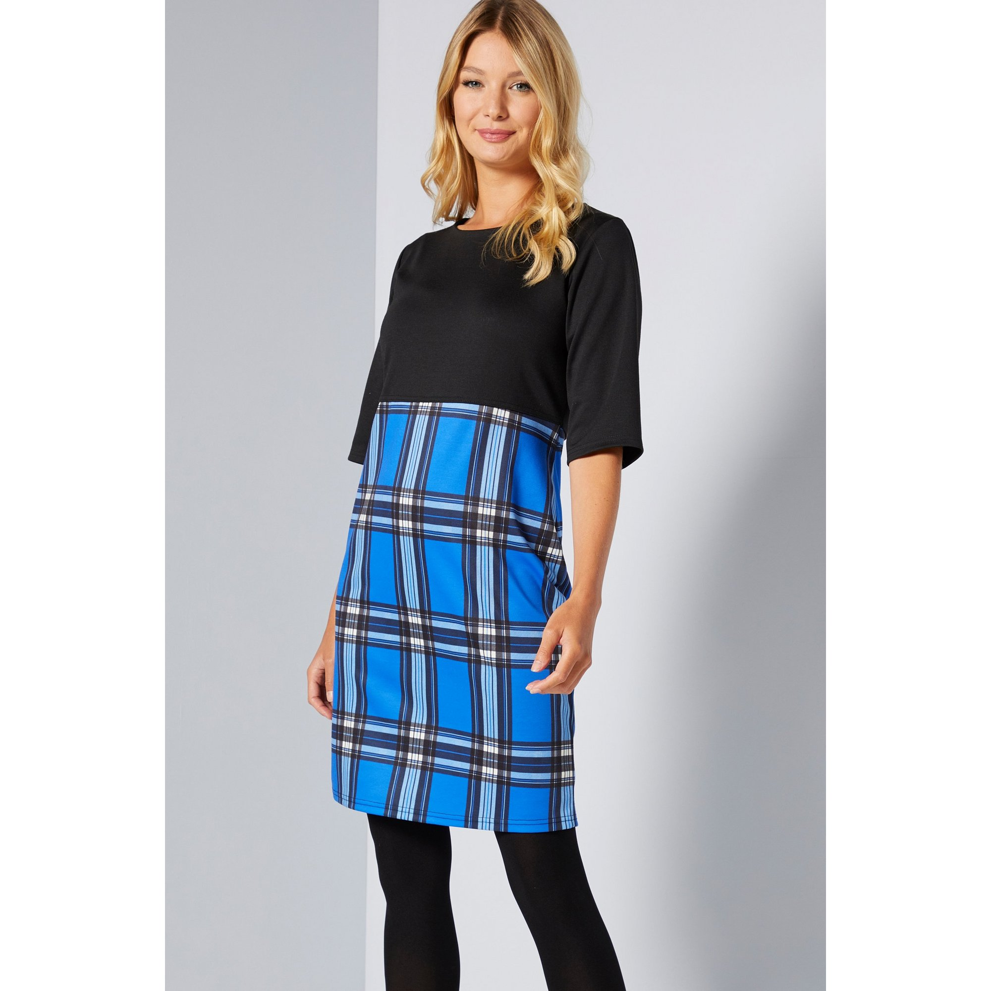 Image of 2-in-1 Blue Jersey Check Dress