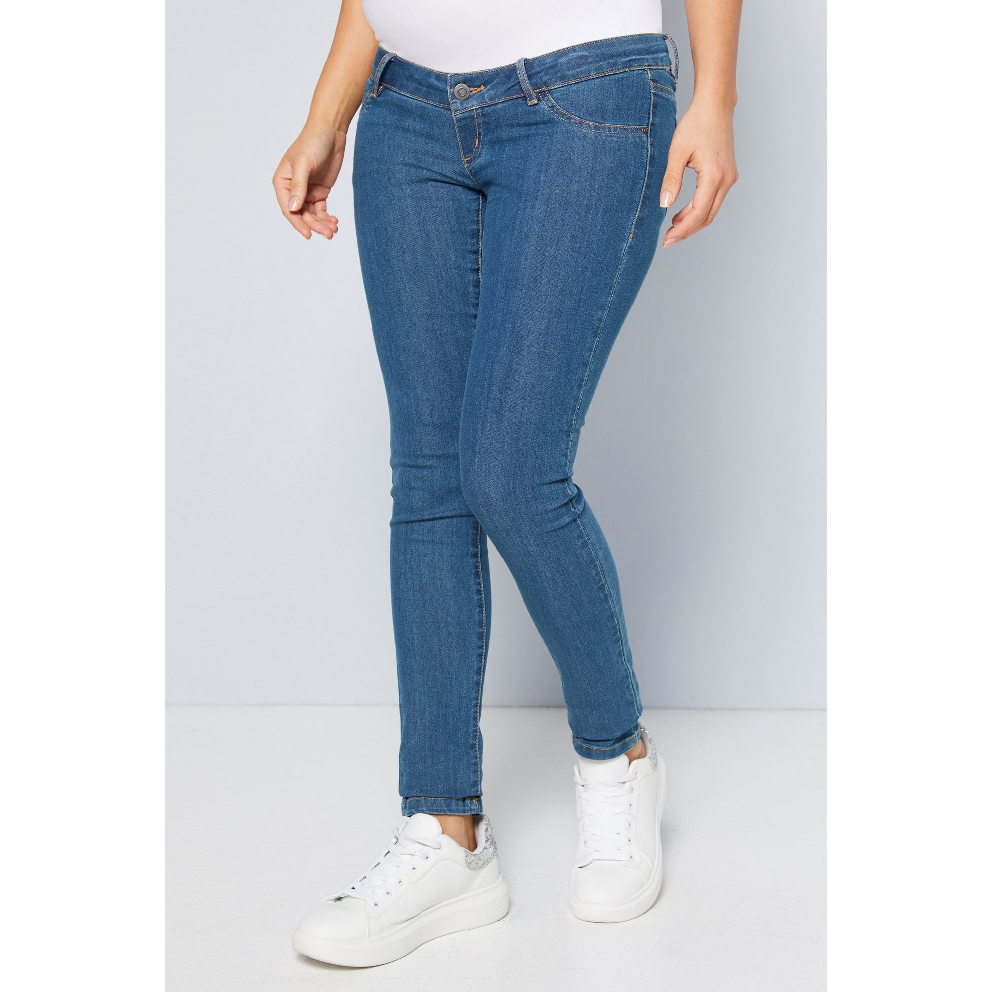 Image of Mama:licious Medium Blue Maternity Over The Bump Skinny Jeans