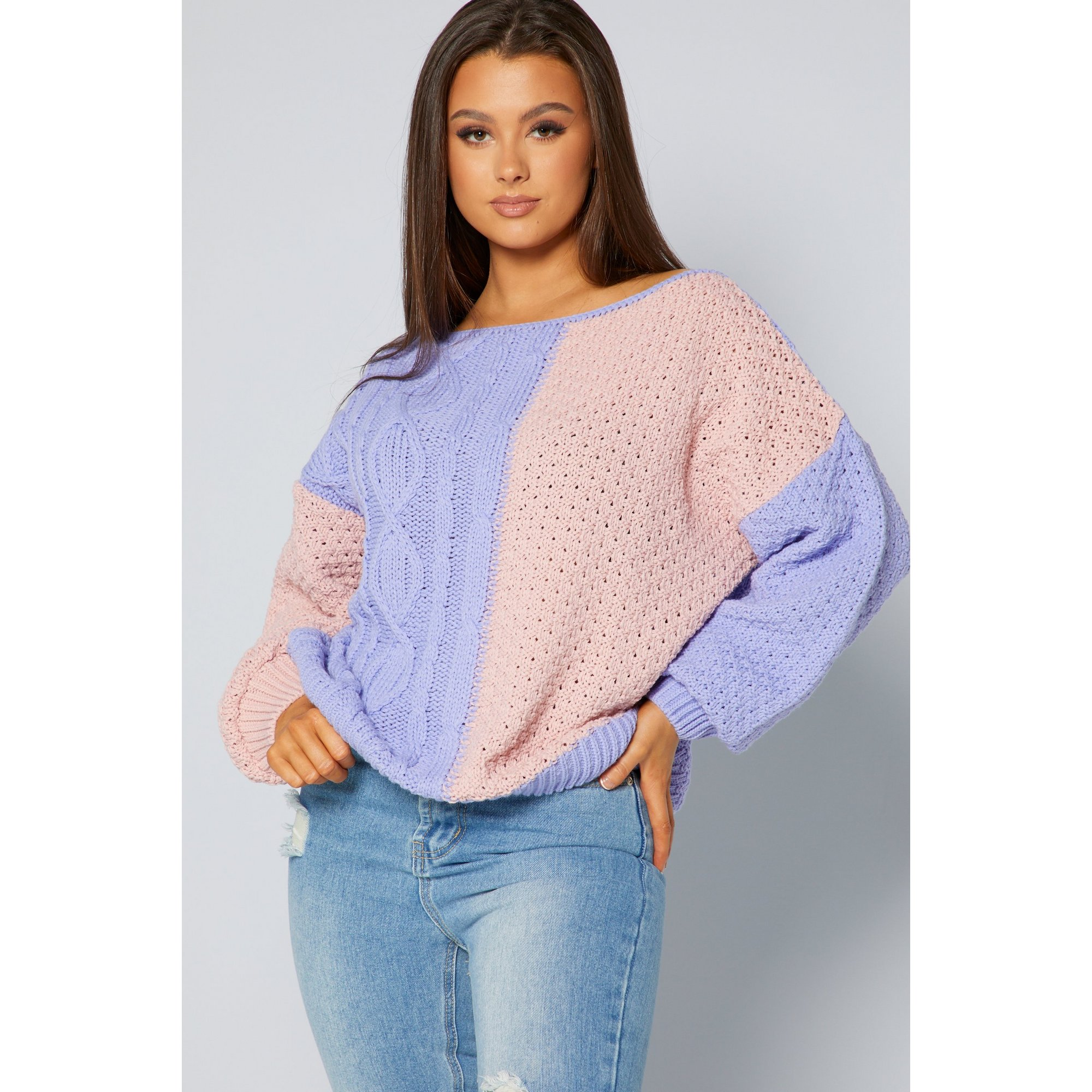 Image of In The Style Jac Jossa Slouch Knitted Longline Jumper