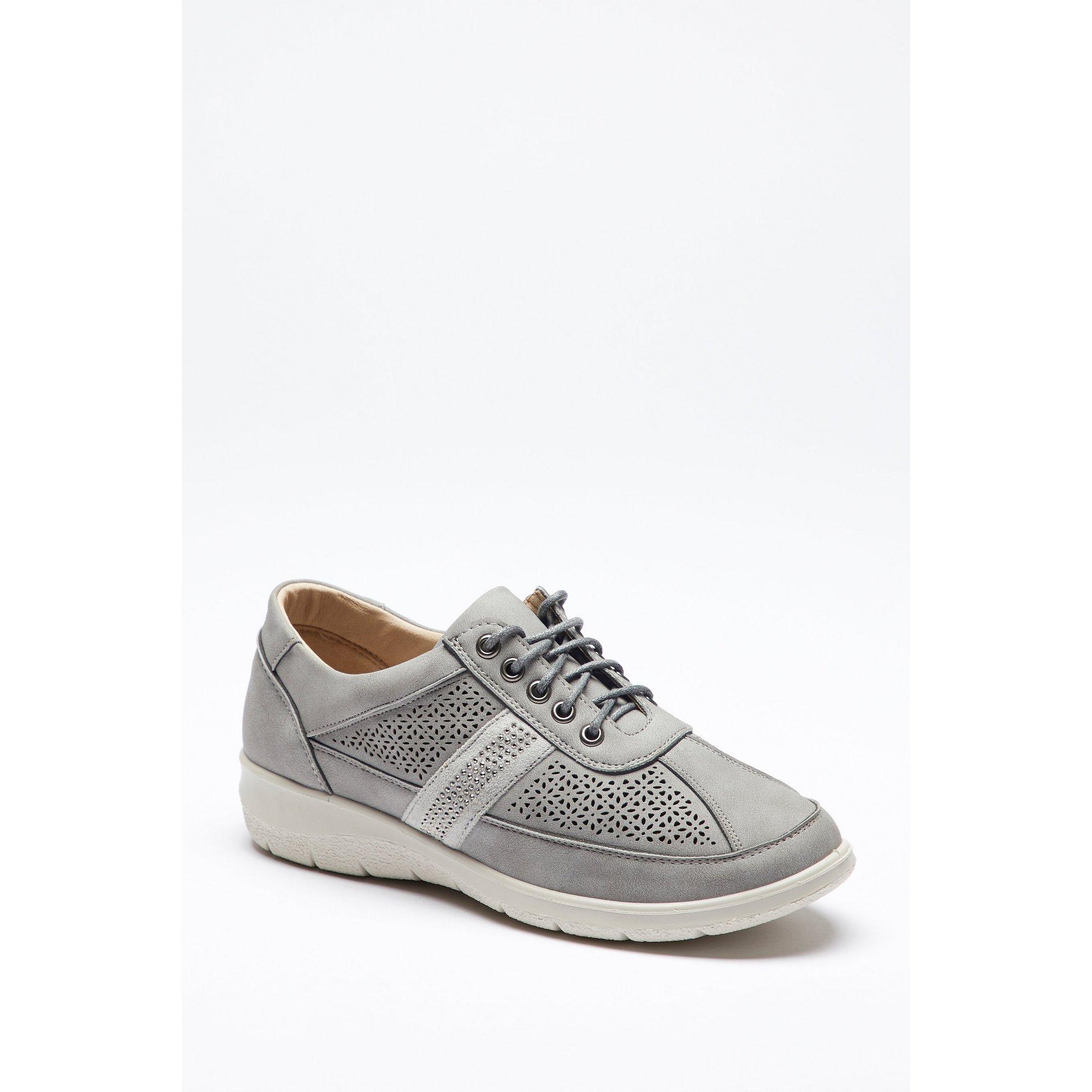Image of Cushion Walk Diamante Lace Up Grey Shoes