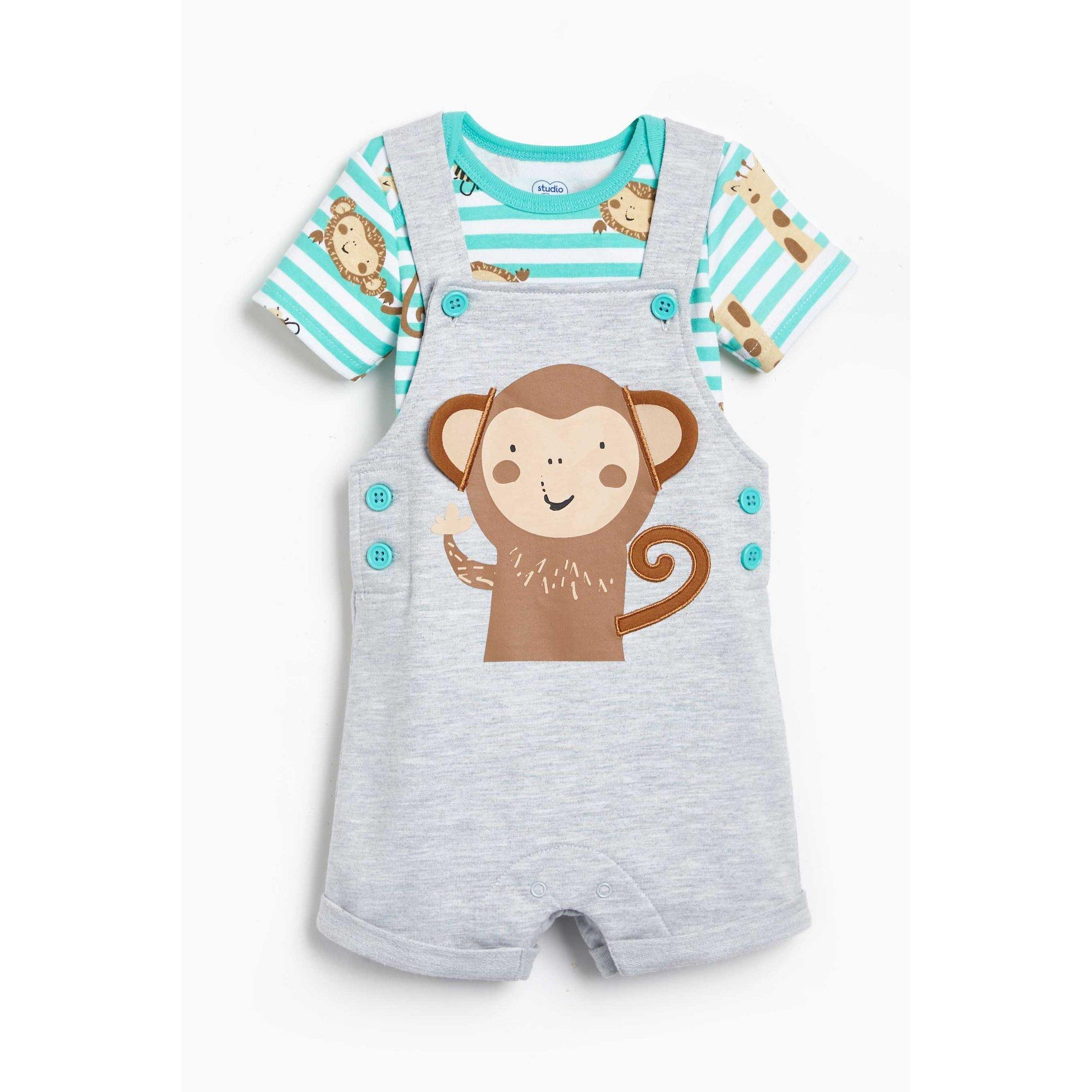 Image of Baby 2-Piece Monkey Dungaree and Stripe Bodysuit Set