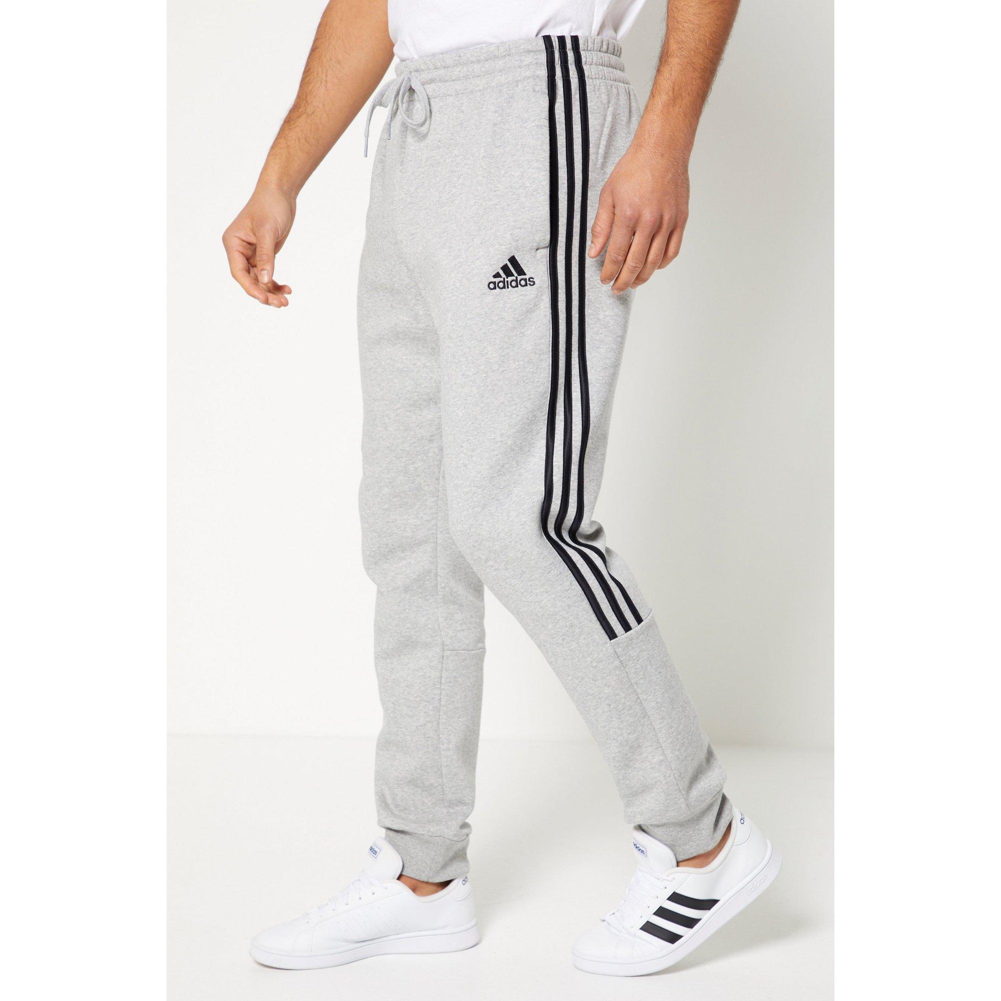 Image of adidas Essentials 3 Striped Cuffed Grey Joggers