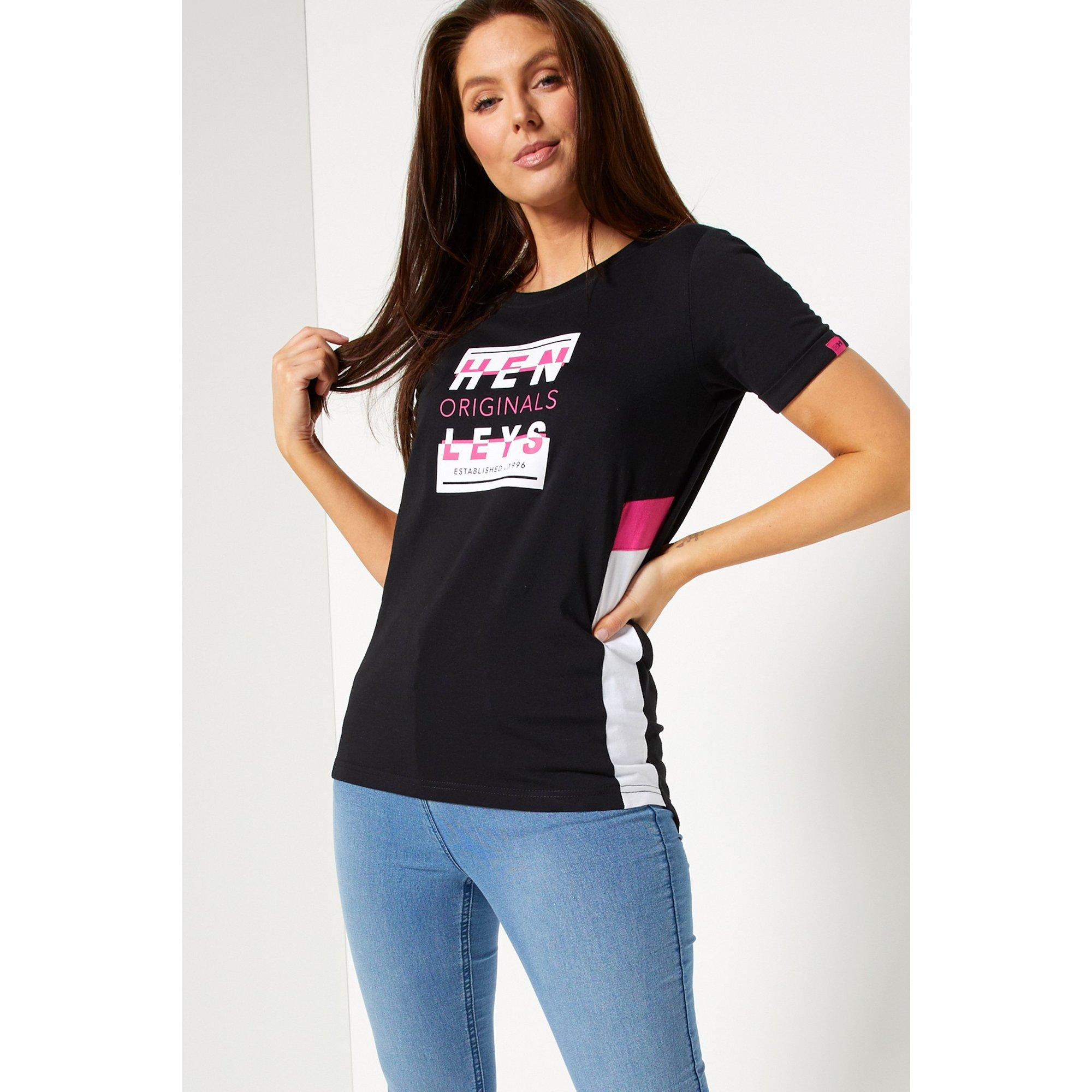 Image of Henleys Black/Pink Logo T-Shirt