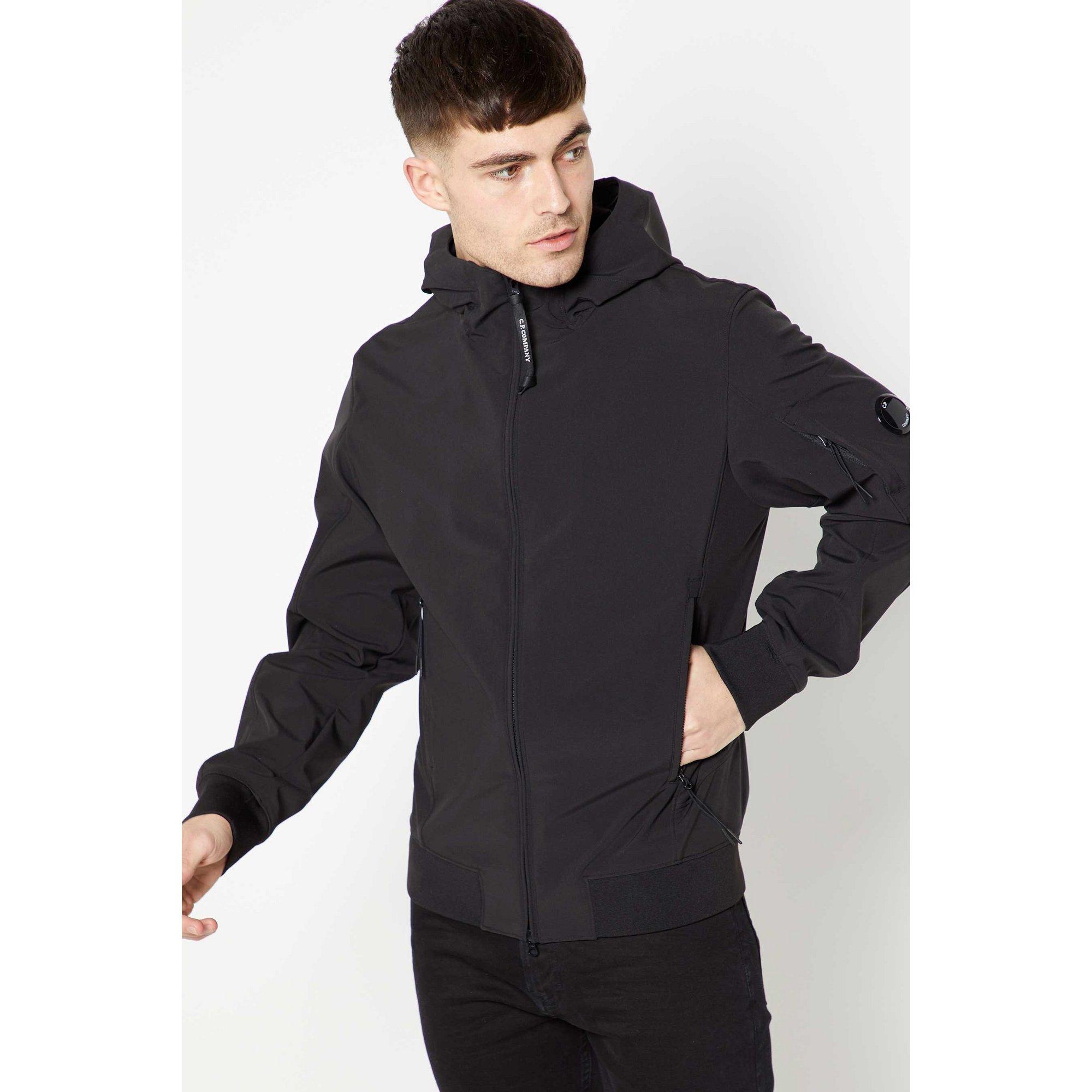 Image of C.P Company Soft Shell Arm Logo Black Jacket
