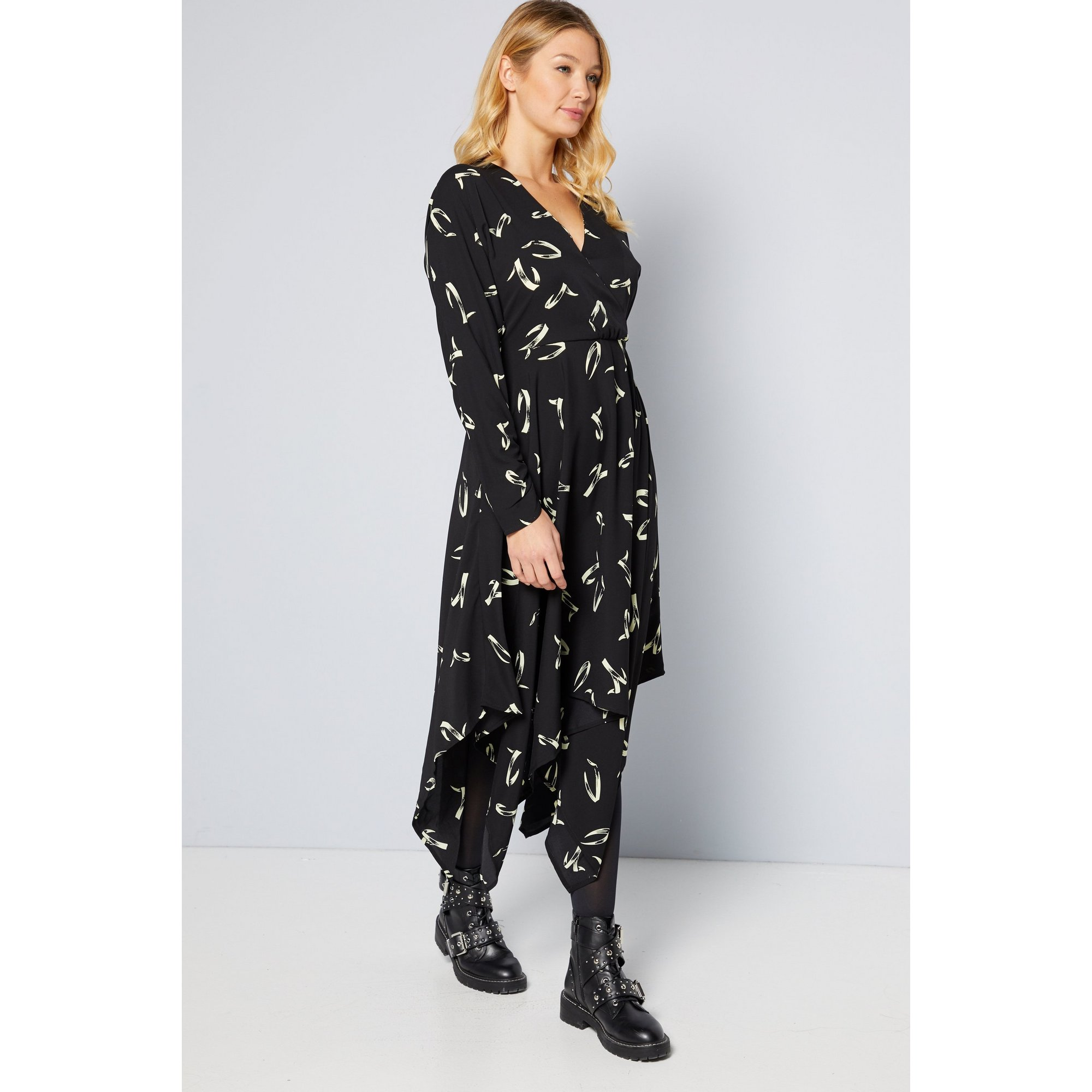 Image of AX Paris Black Wrap Hanky Hem Midi Dress