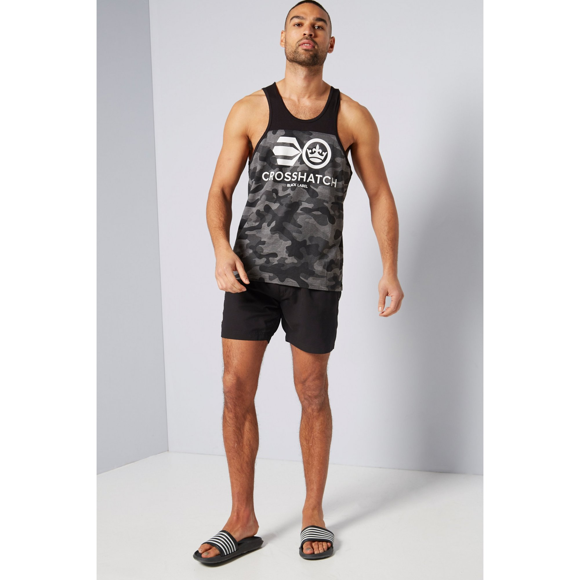 Image of Crosshatch Black Camo Vest and Shorts Set
