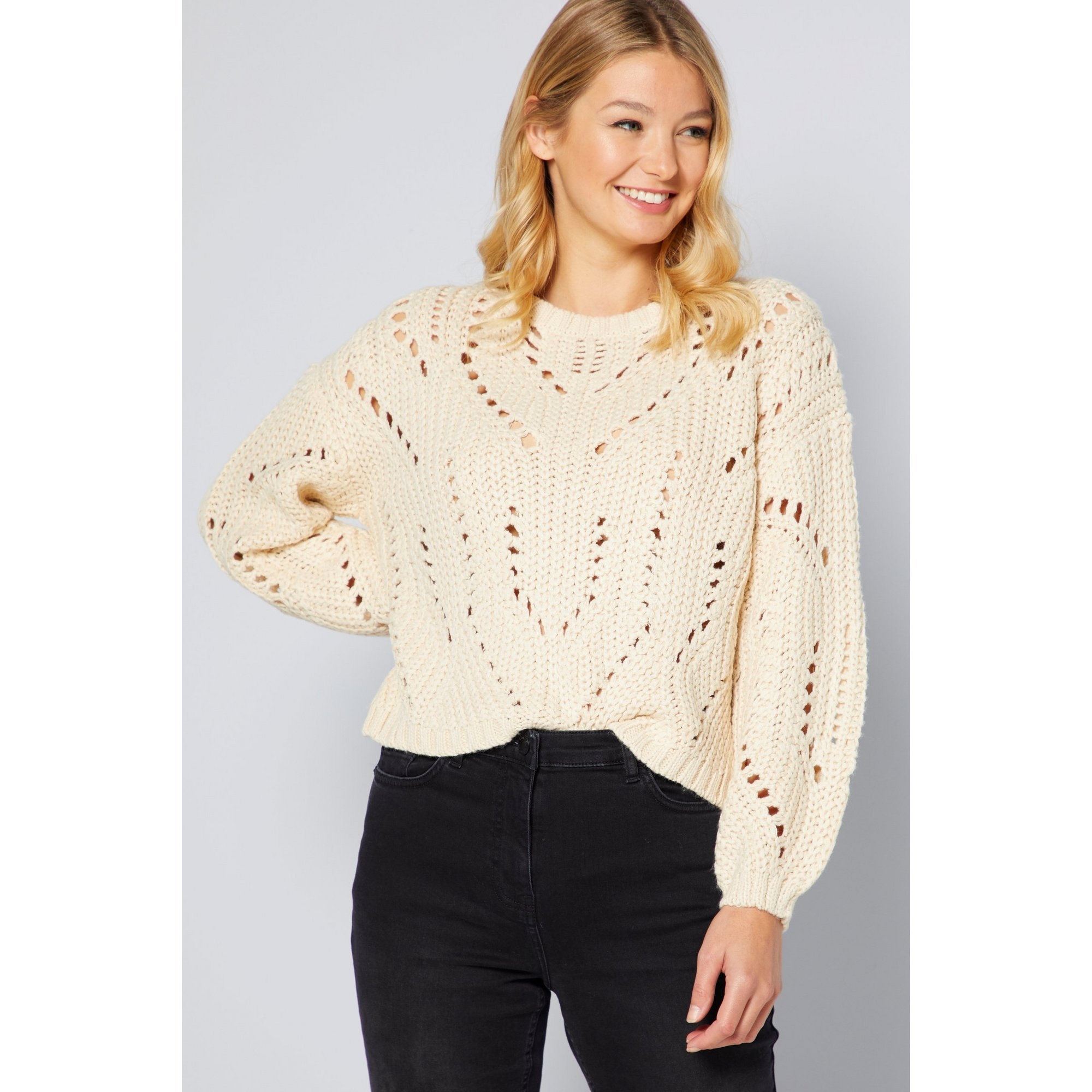 Image of Brave Soul Chunky Pointelle Crew Neck Jumper