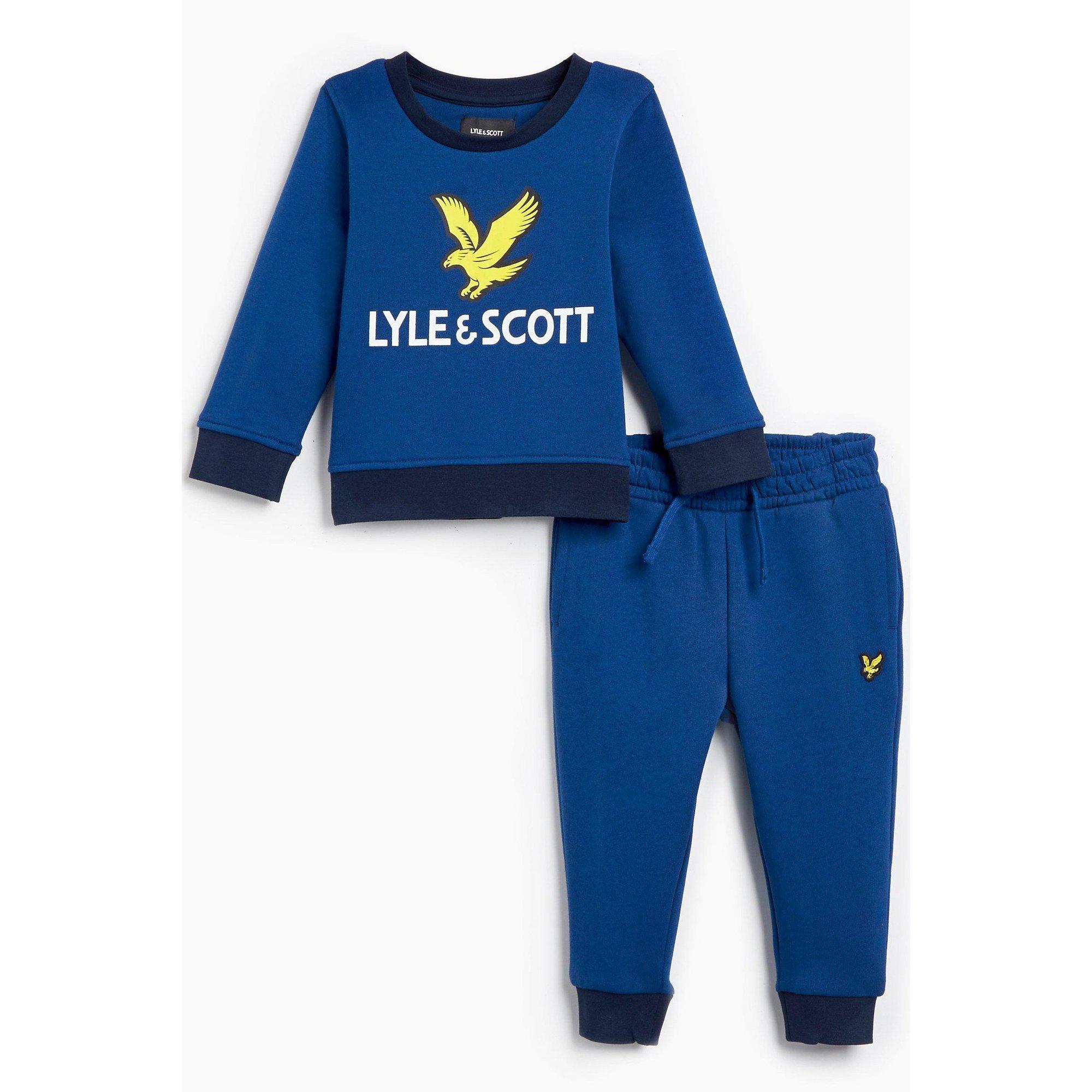 Image of Baby Boy Lyle and Scott Logo Crew Jog Set