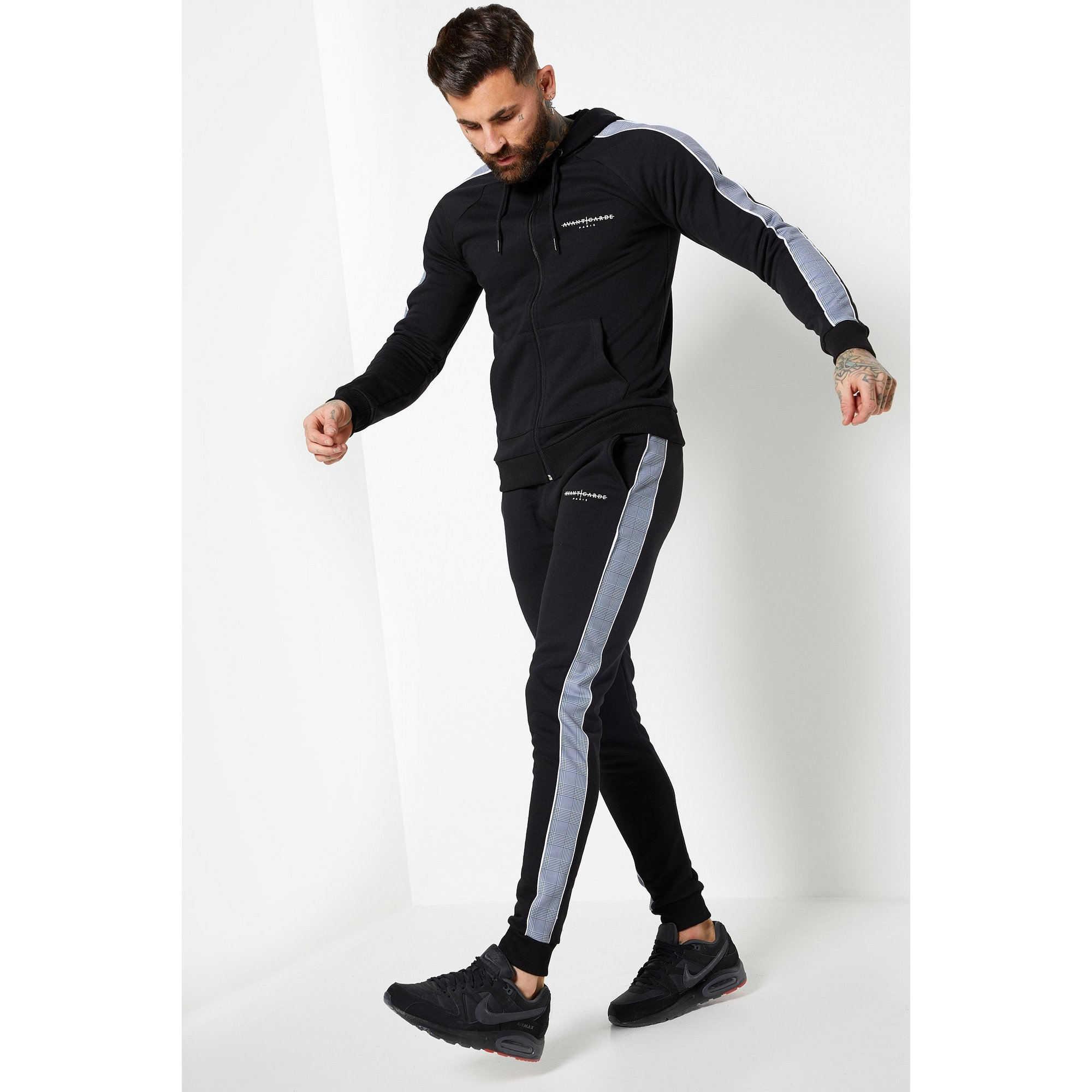 Image of Avant Garde Check Taping Black Tracksuit
