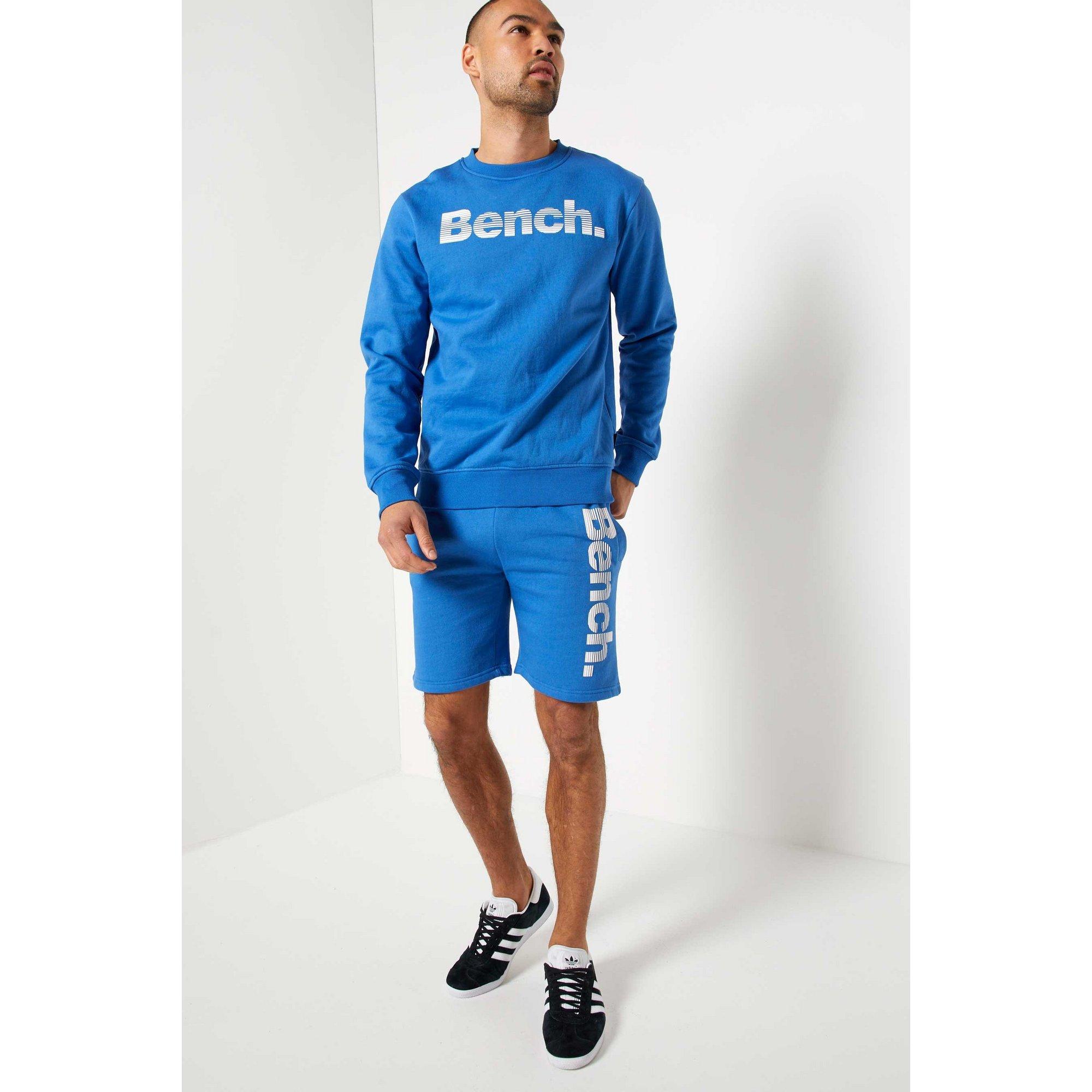 Image of Bench Blue Crew Neck Sweatshirt and Short Set