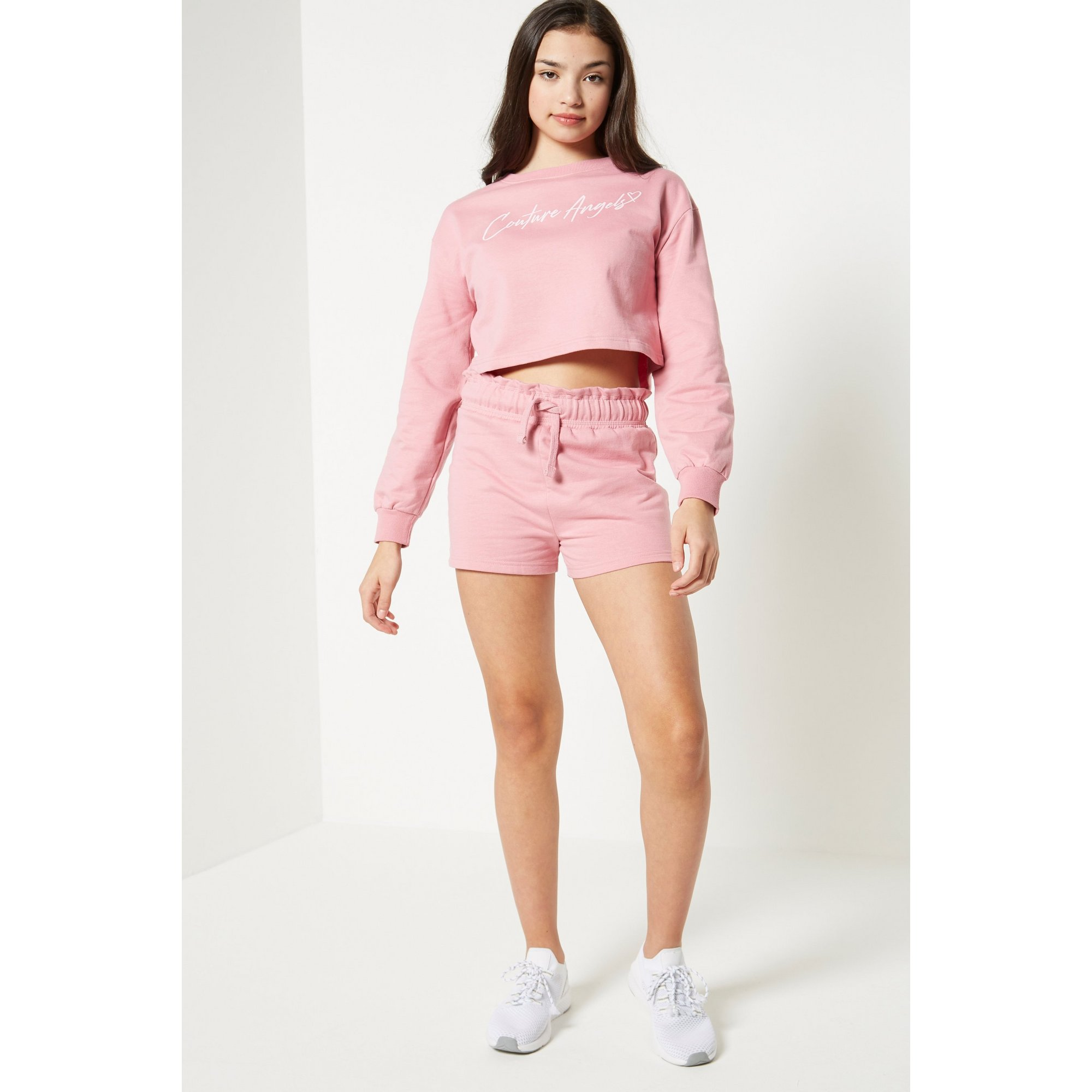 Image of Couture Angels 2-Piece Blush Cropped Sweatshirt and Shorts Set