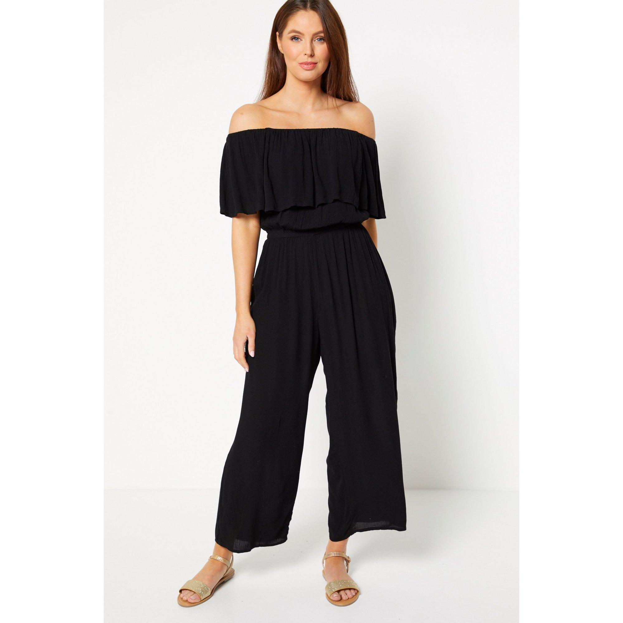 Image of Black Crinkle Bardot Cropped Jumpsuit