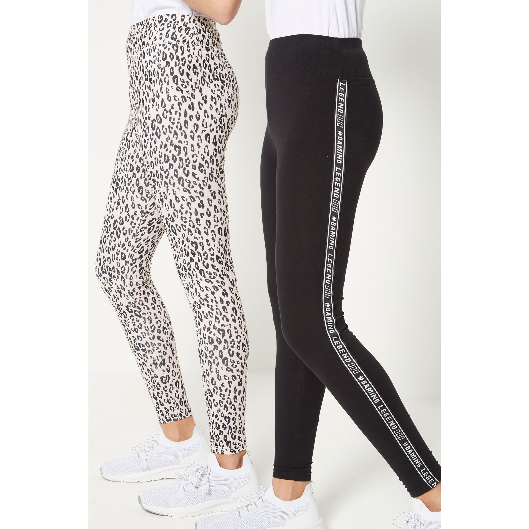 Image of Couture Angels Pack of 2 Black/Leopard Pearl Leggings