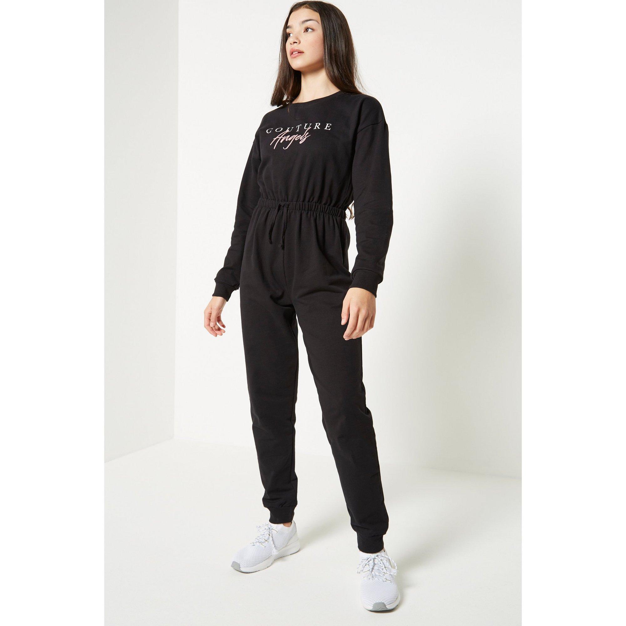 Image of Couture Angels Tie Waist Black Jumpsuit