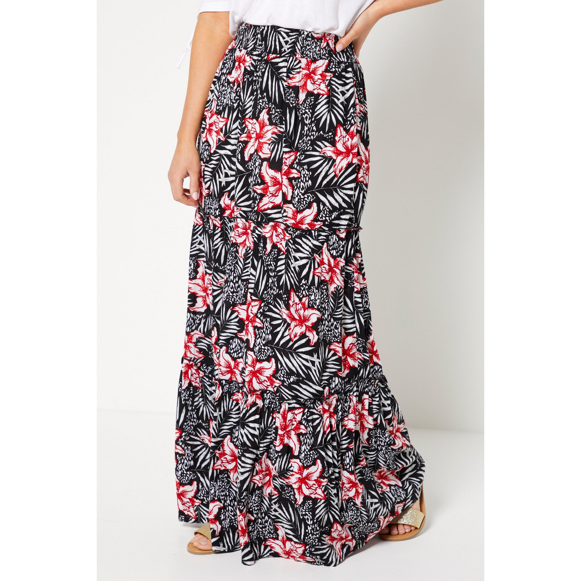 Image of Black and Red Crinkle Maxi Skirt