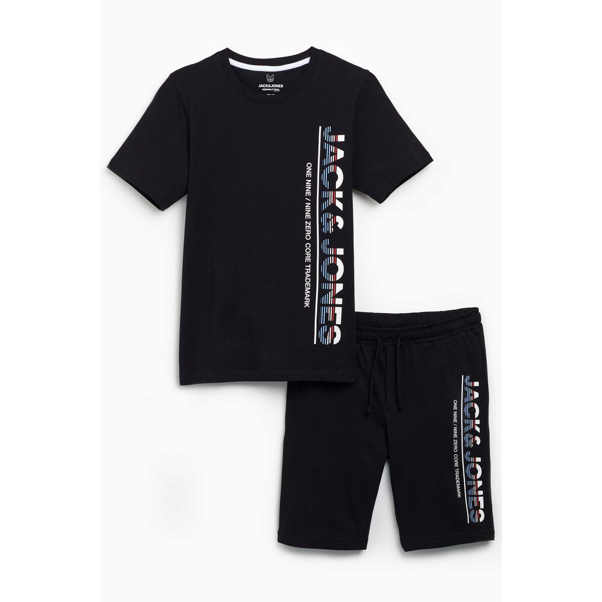 Image of Boys Jack and Jones Black T-Shirt and Shorts Set