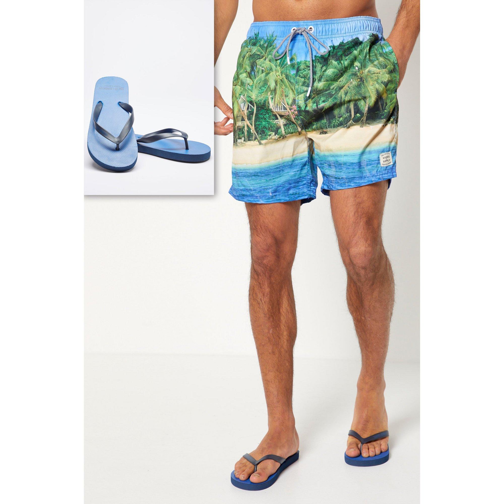 Image of Beach Printed Swim Shorts and Flip Flops