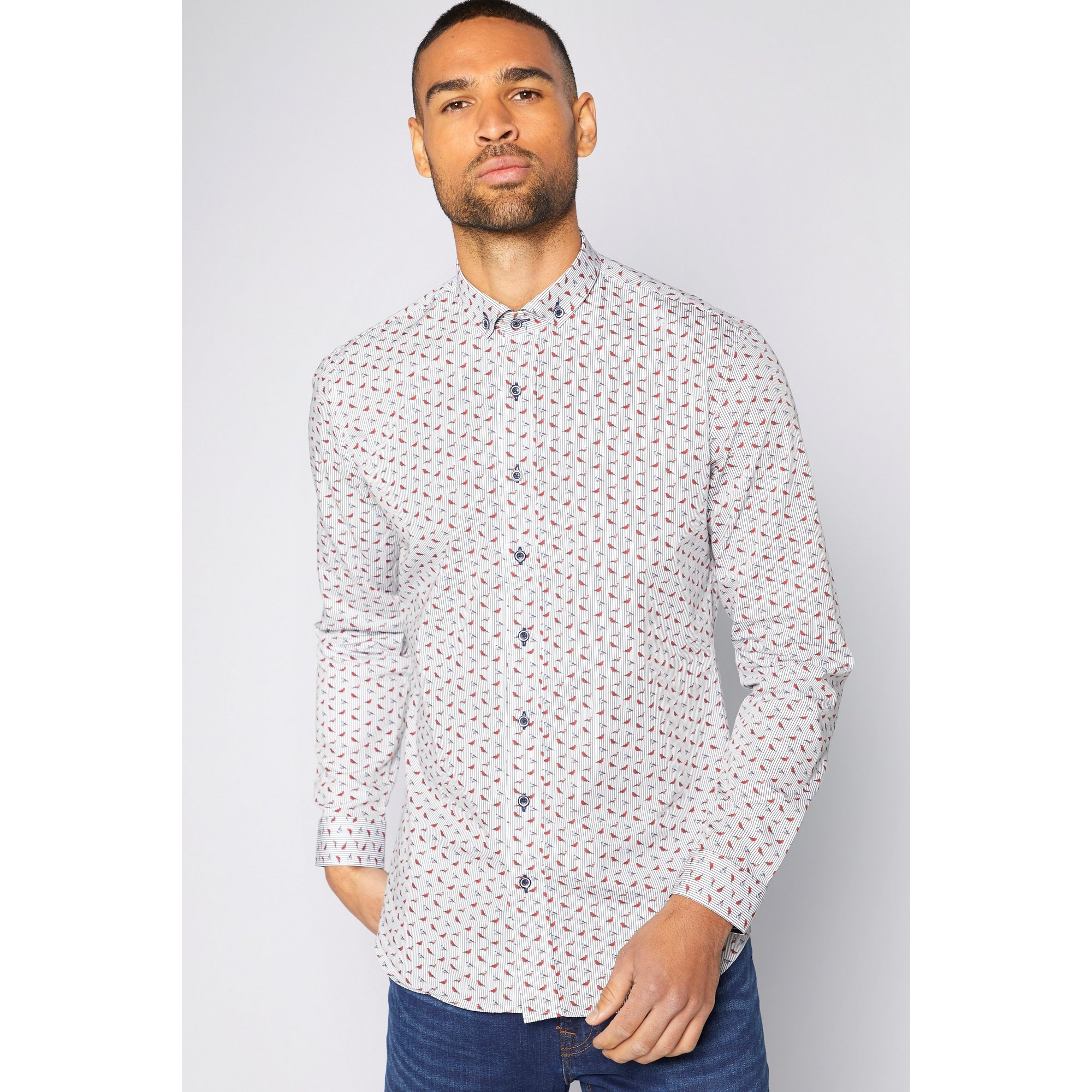 Image of Bewley and Ritch Geo Print Long Sleeve Shirt