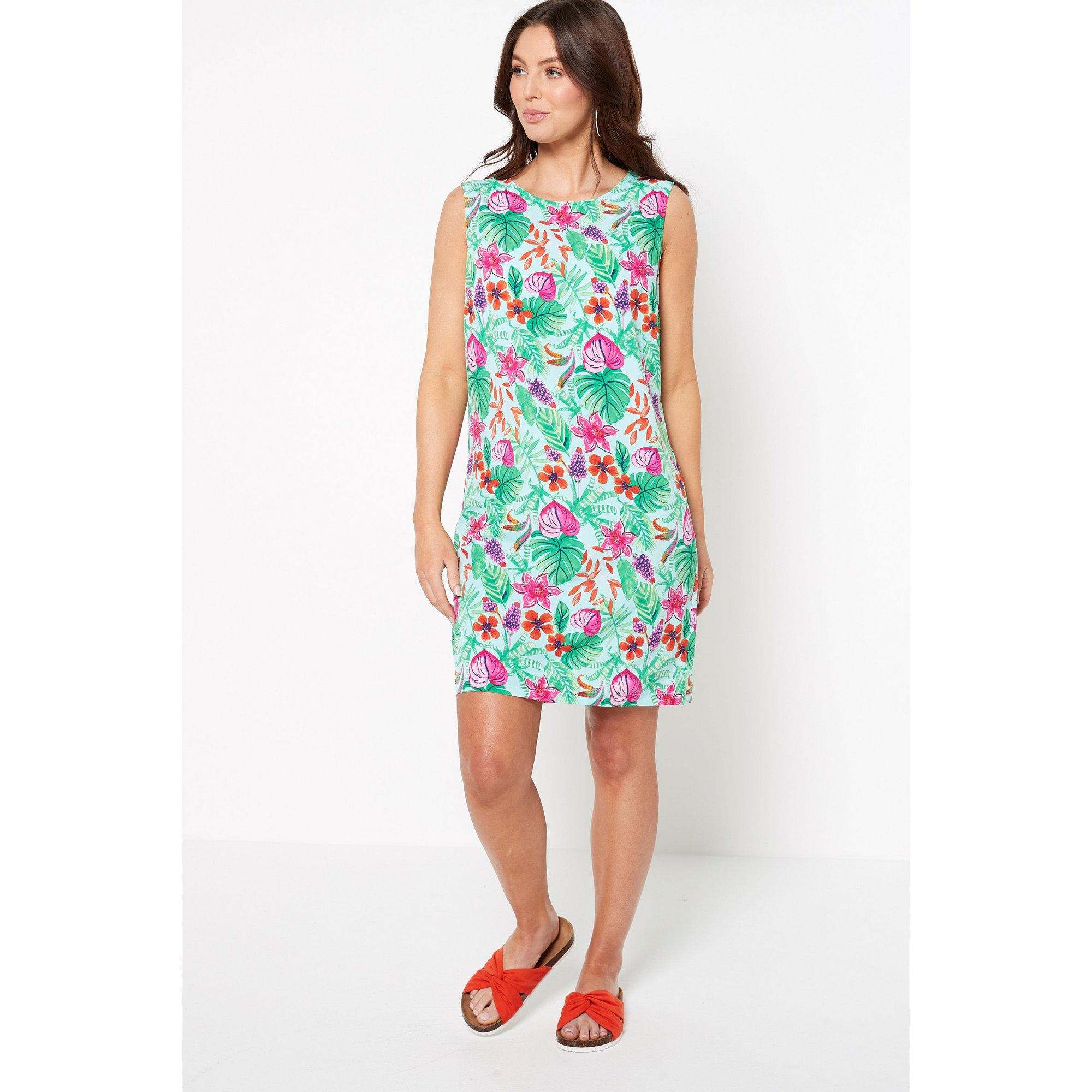 Image of Aqua Floral Printed Sleeveless Shift Dress