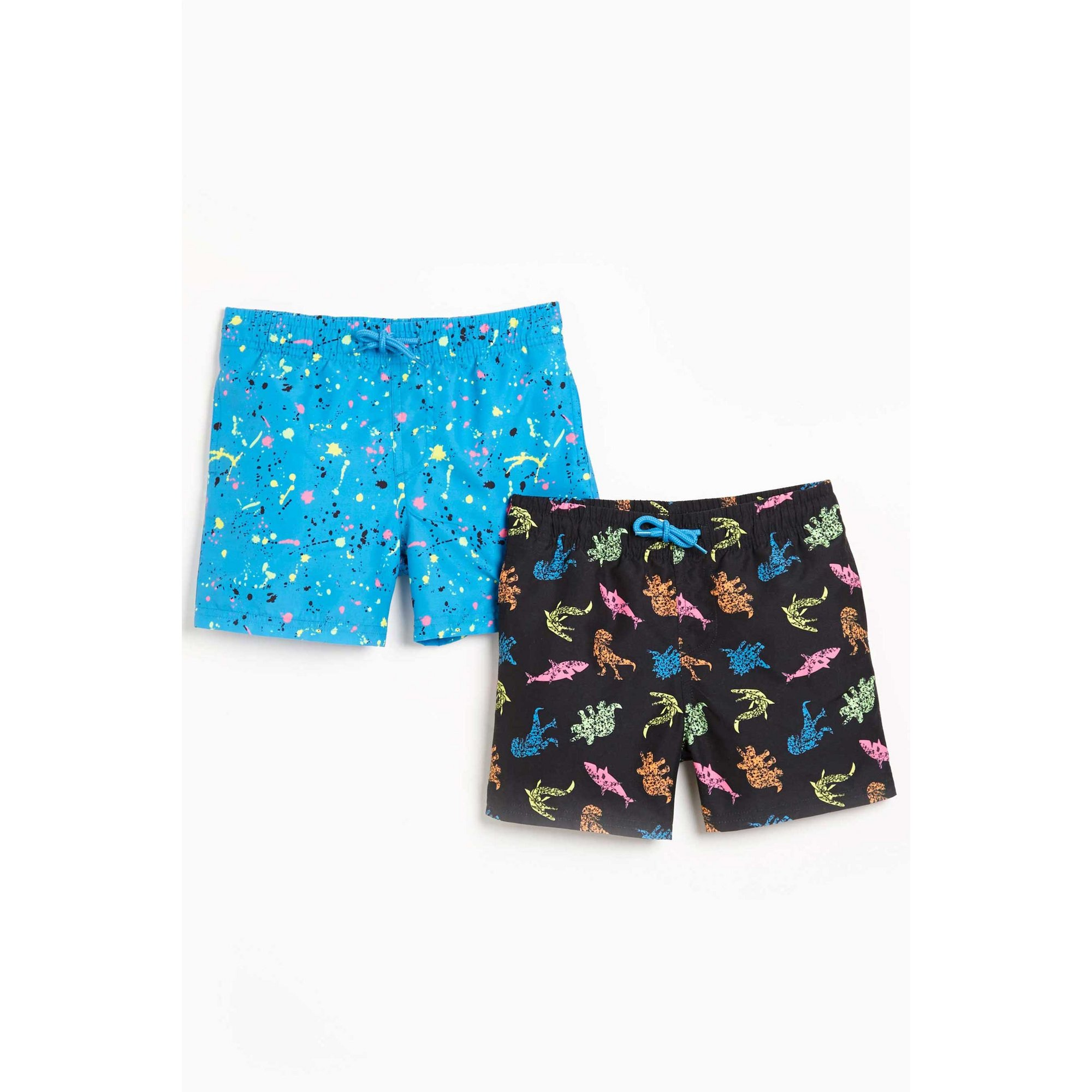 Image of Younger Boys Pack of 2 Dino Shark Swim Shorts