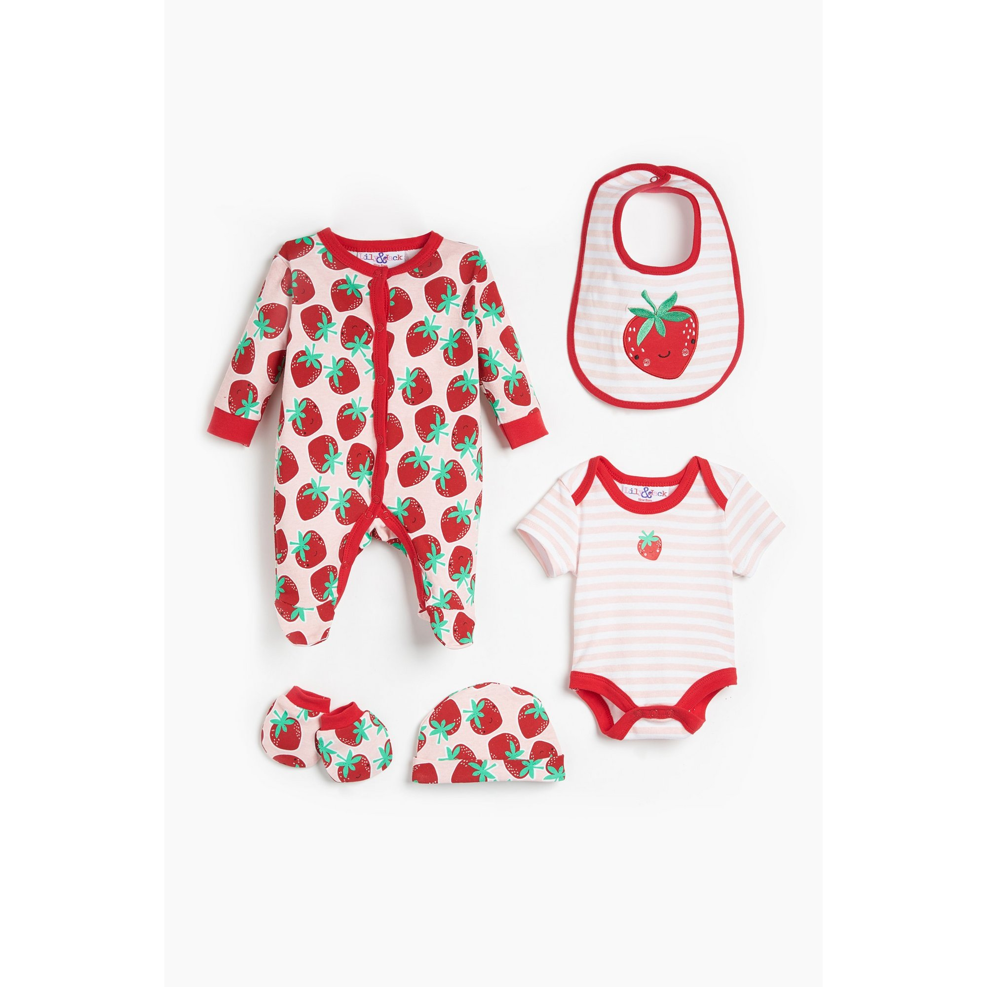 Image of Baby Girls Lily and Jack 5 Piece Red Strawberry Set