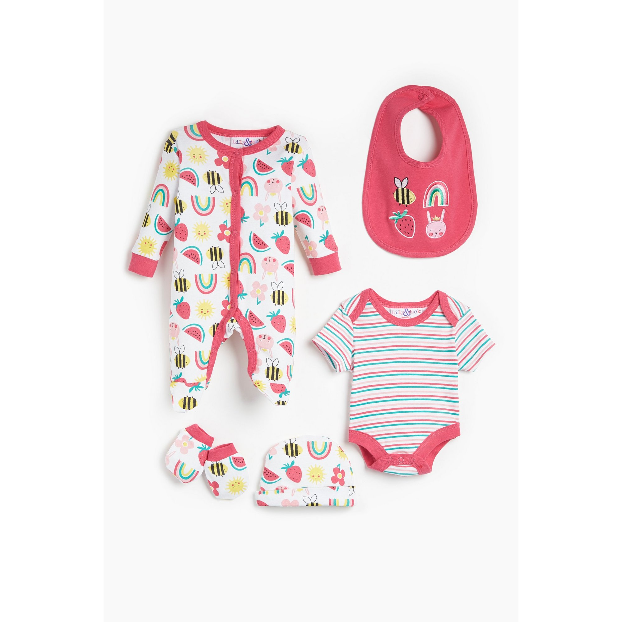 Image of Baby Girls Lily and Jack 5 Piece Fun Brights Pink Stripe Set