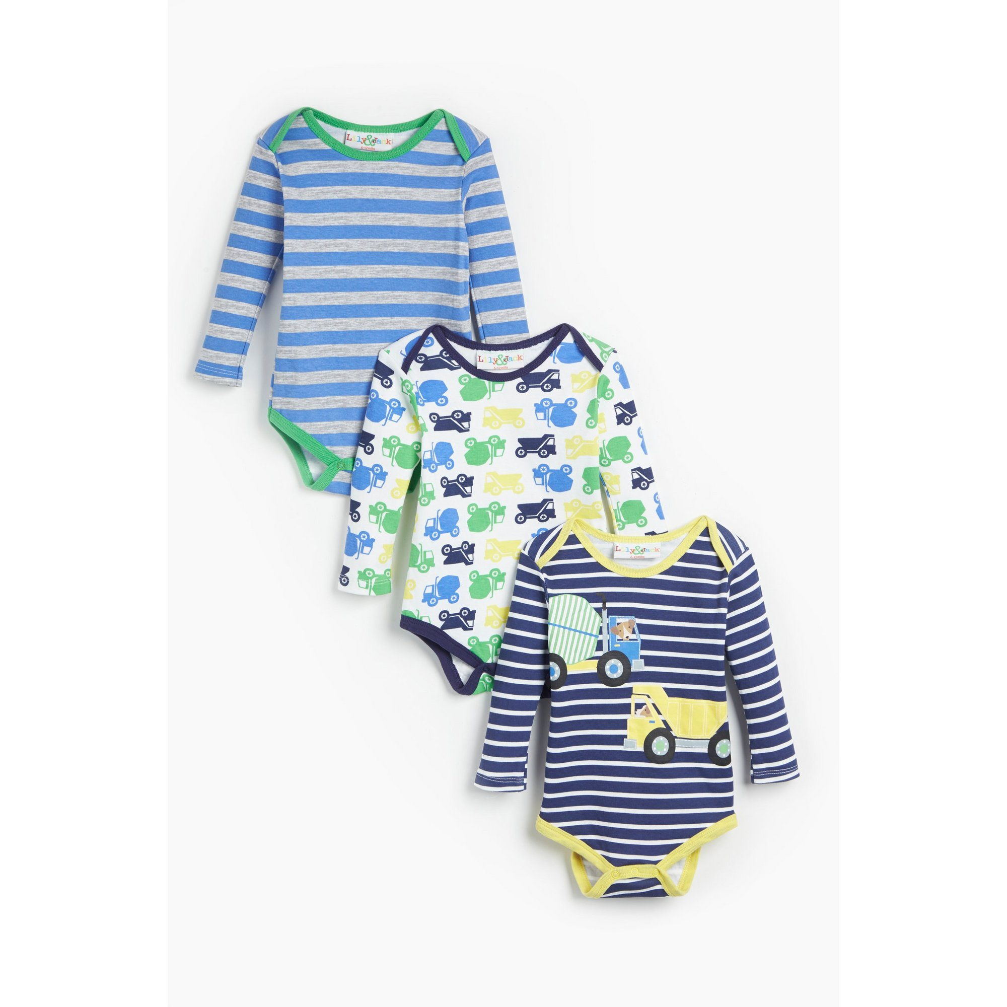 Image of Baby Boys Lily and Jack Pack of 3 Builder Navy Stripe Bodysuits