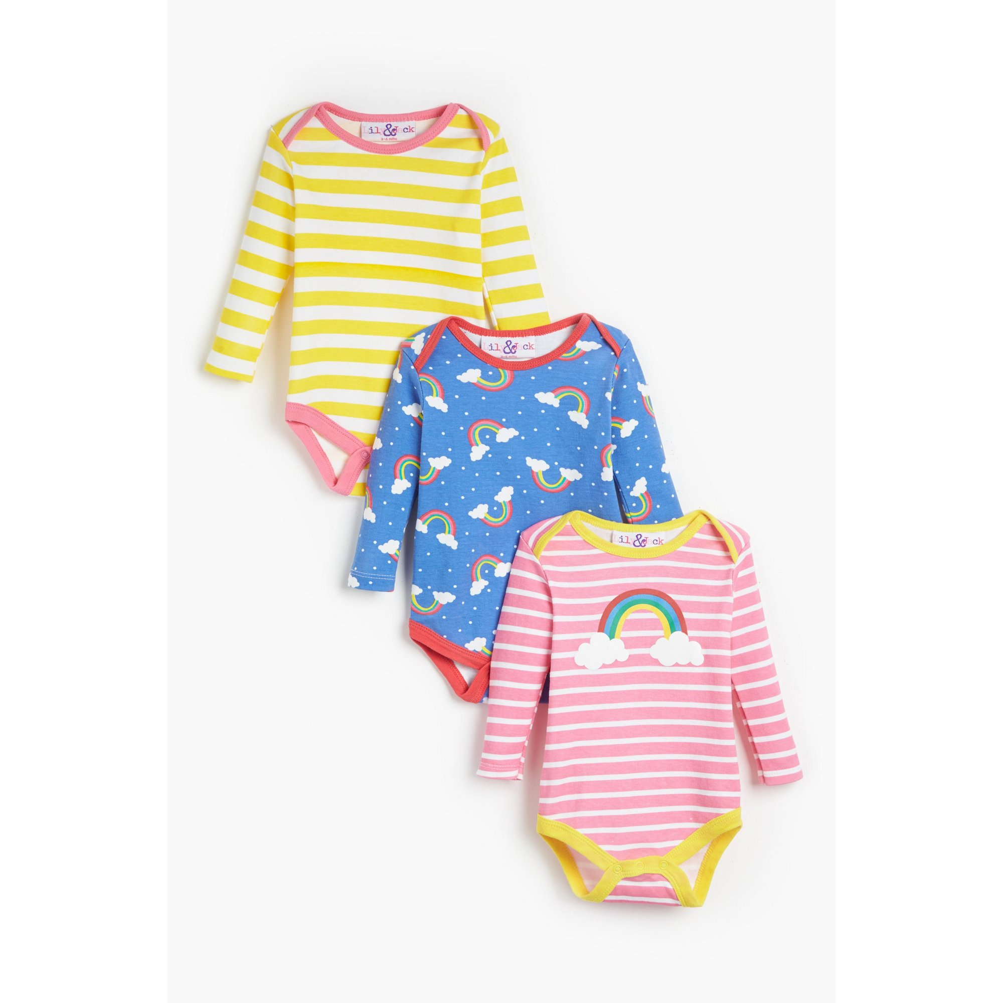 Image of Baby Girls Lily and Jack Pack of 3 Rainbow Stripe Bodysuits