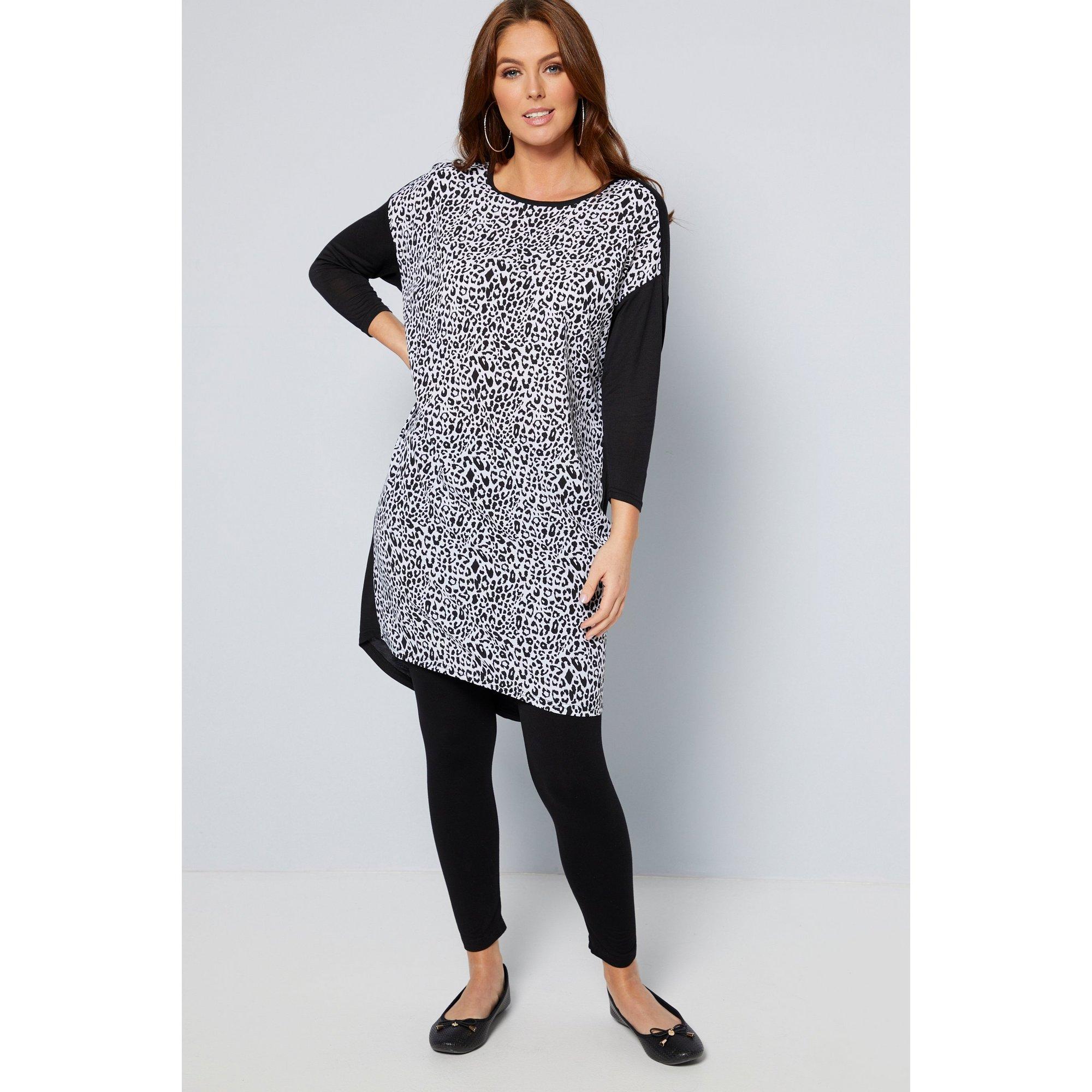 Image of 3/4 Sleeve Woven Animal Mono Print Front Panel Tunic Dress