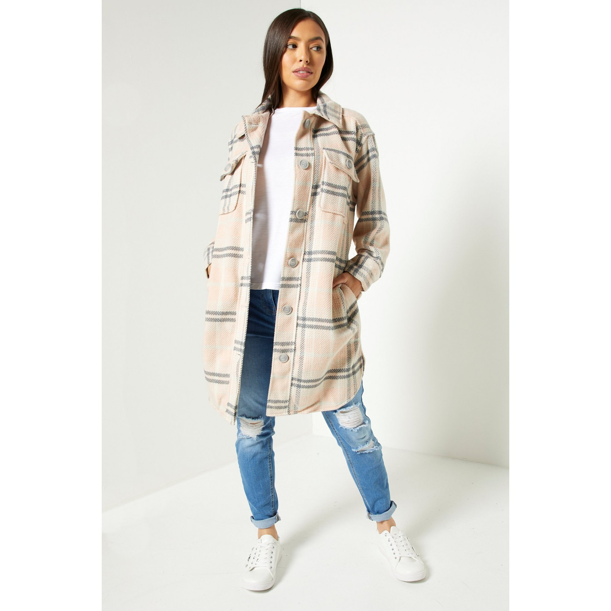 Image of Brave Soul Cream and Pink Check Shacket