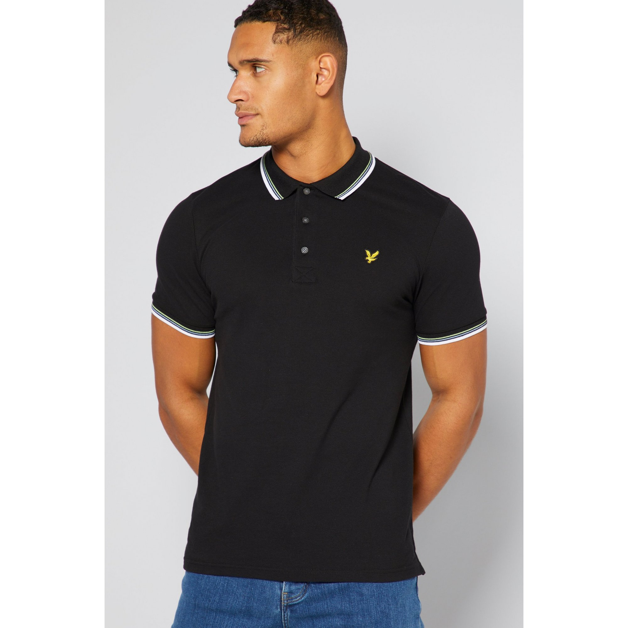 Image of Lyle and Scott Black Tipped Polo Shirt