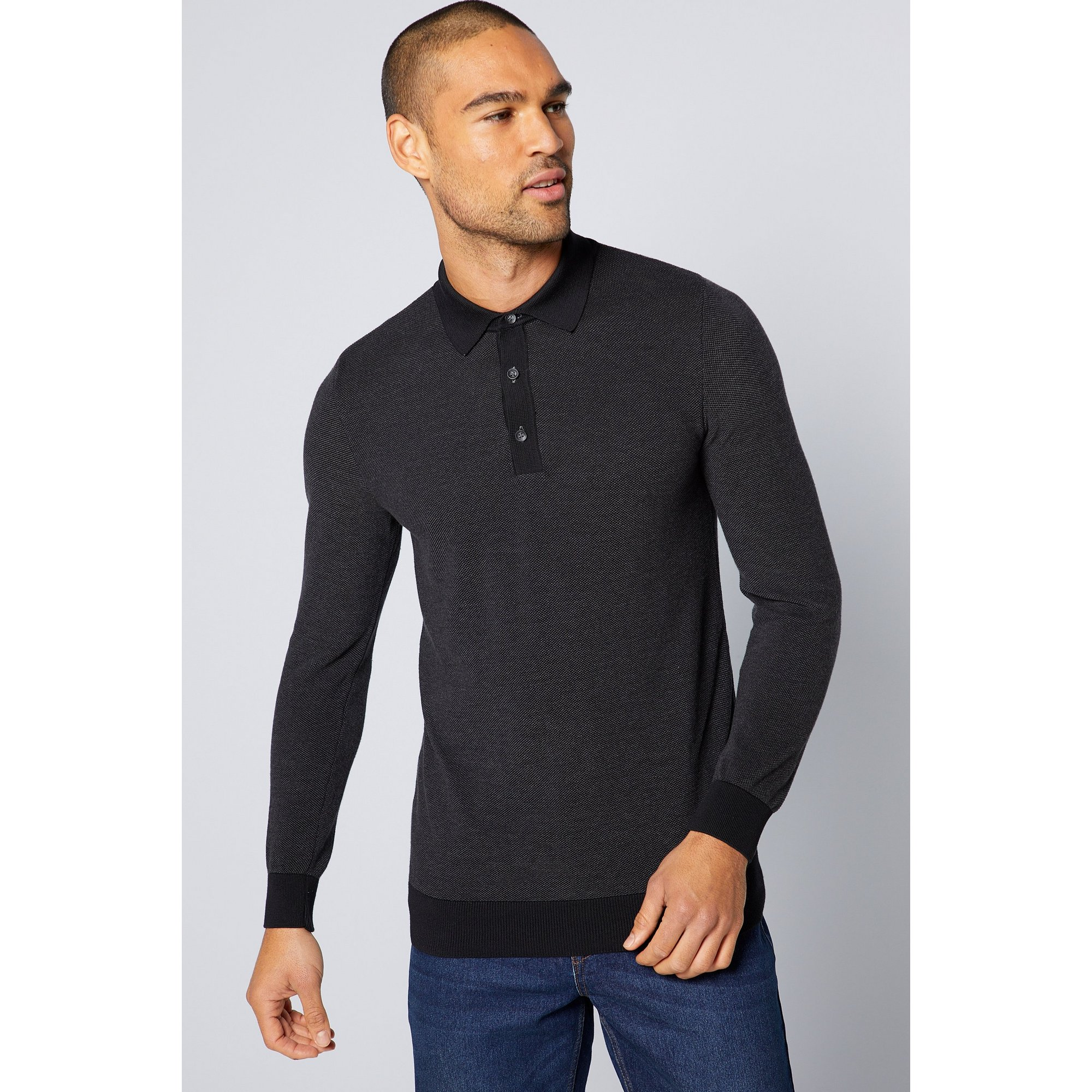 Image of Bewley and Ritch Long Sleeve Buttoned Black Polo Shirt