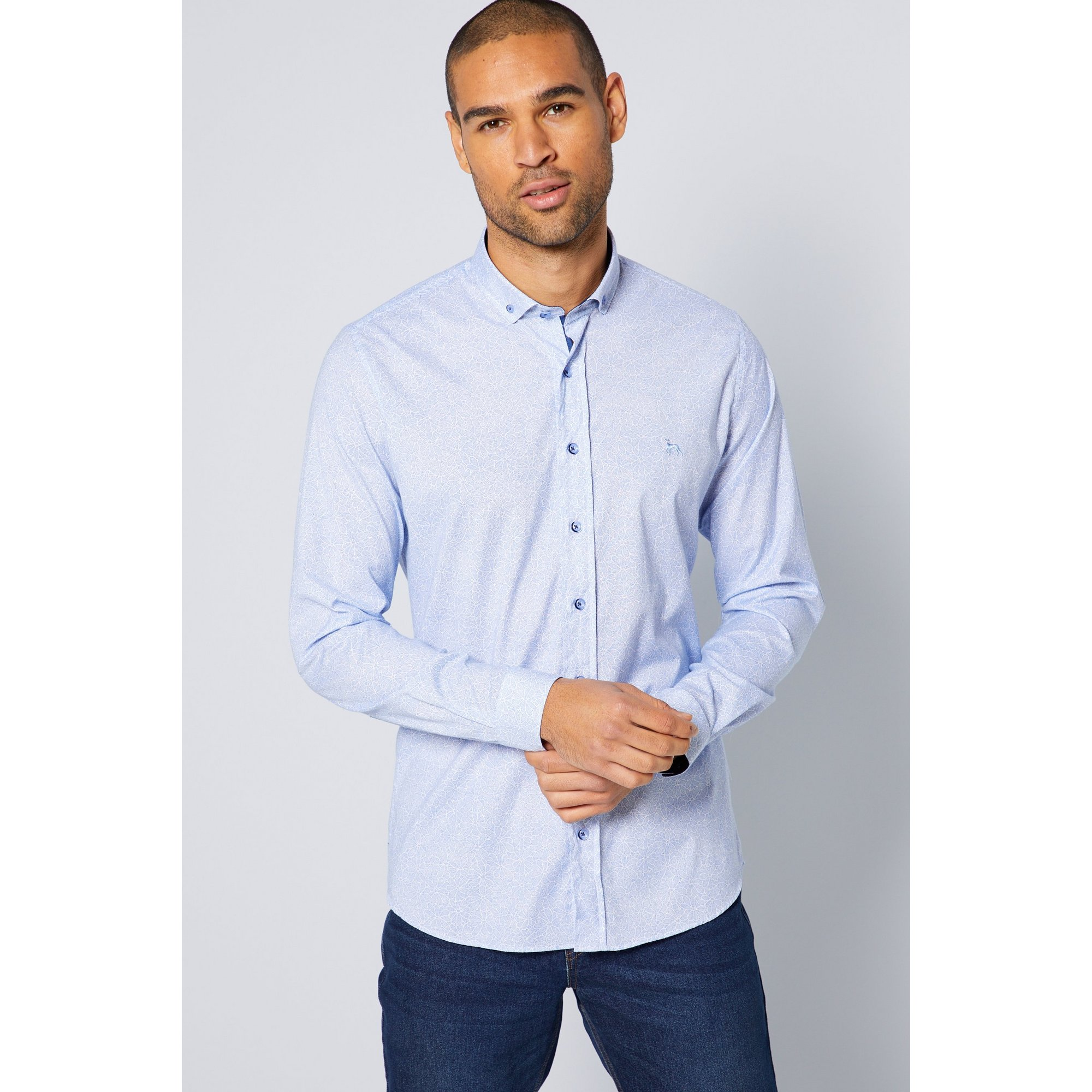 Image of Bewley and Ritch Long Sleeve Blue Patterned Shirt