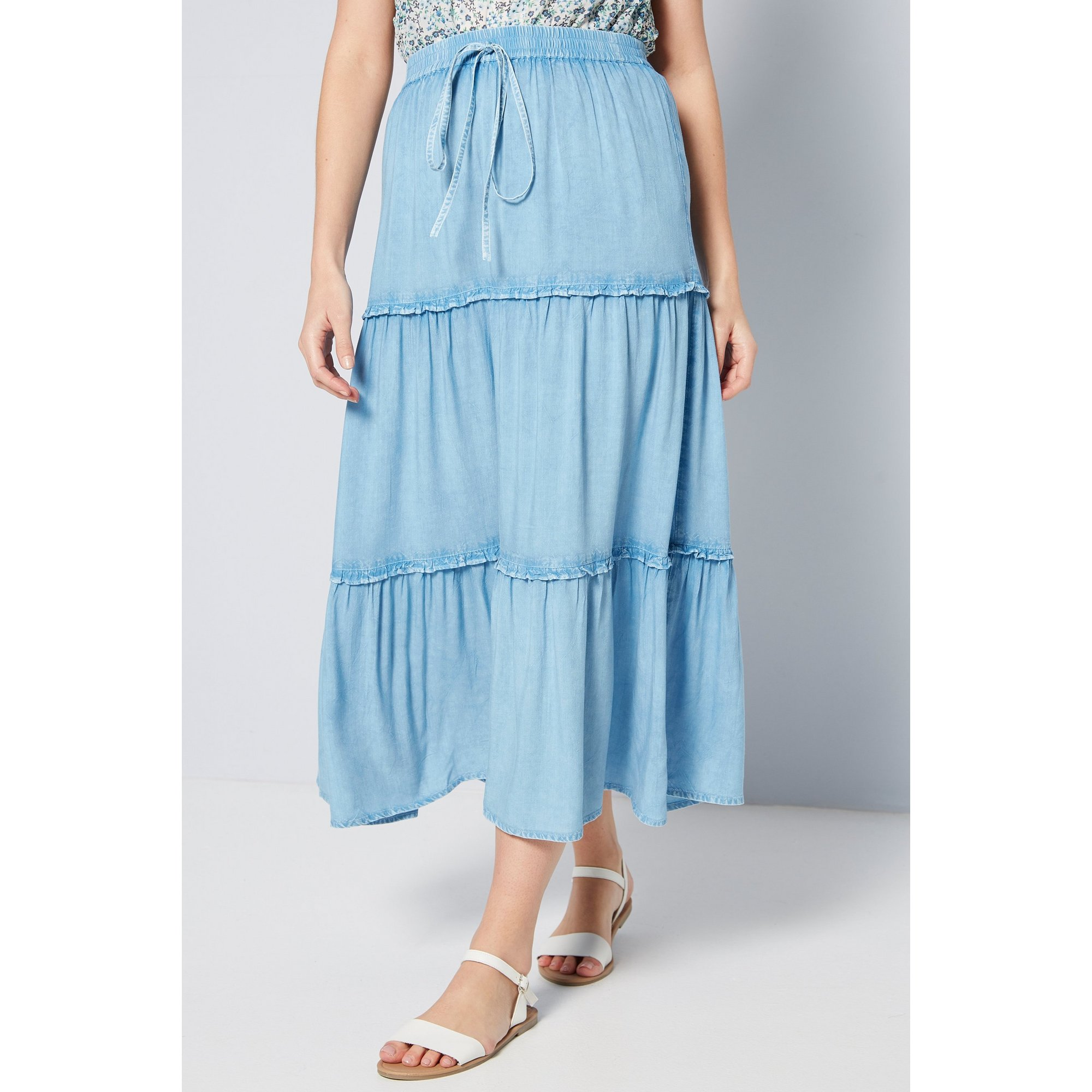 Image of Chambray Tiered Blue Maxi Skirt