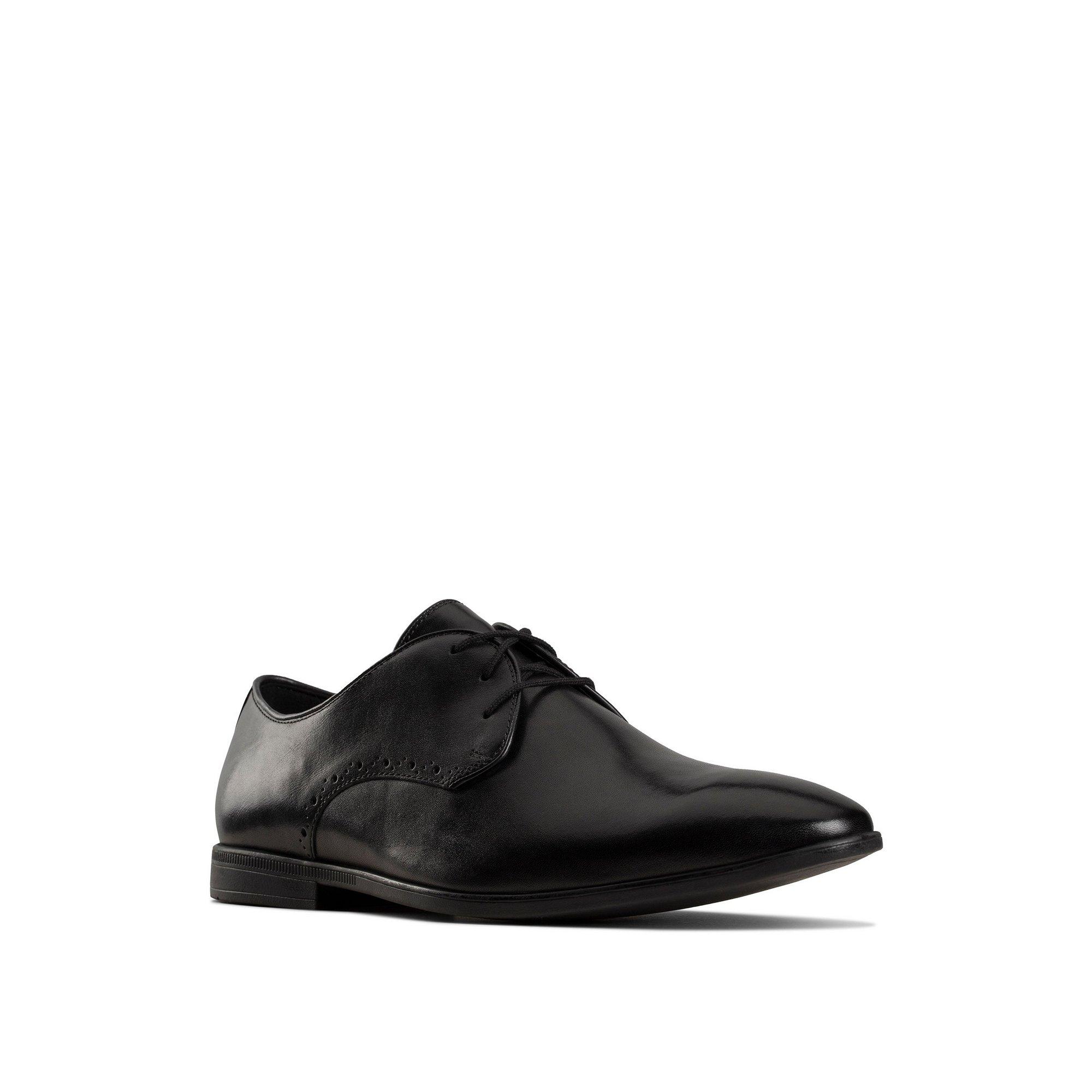 Image of Clarks Bampton Park Lace Up Black Derby Shoes