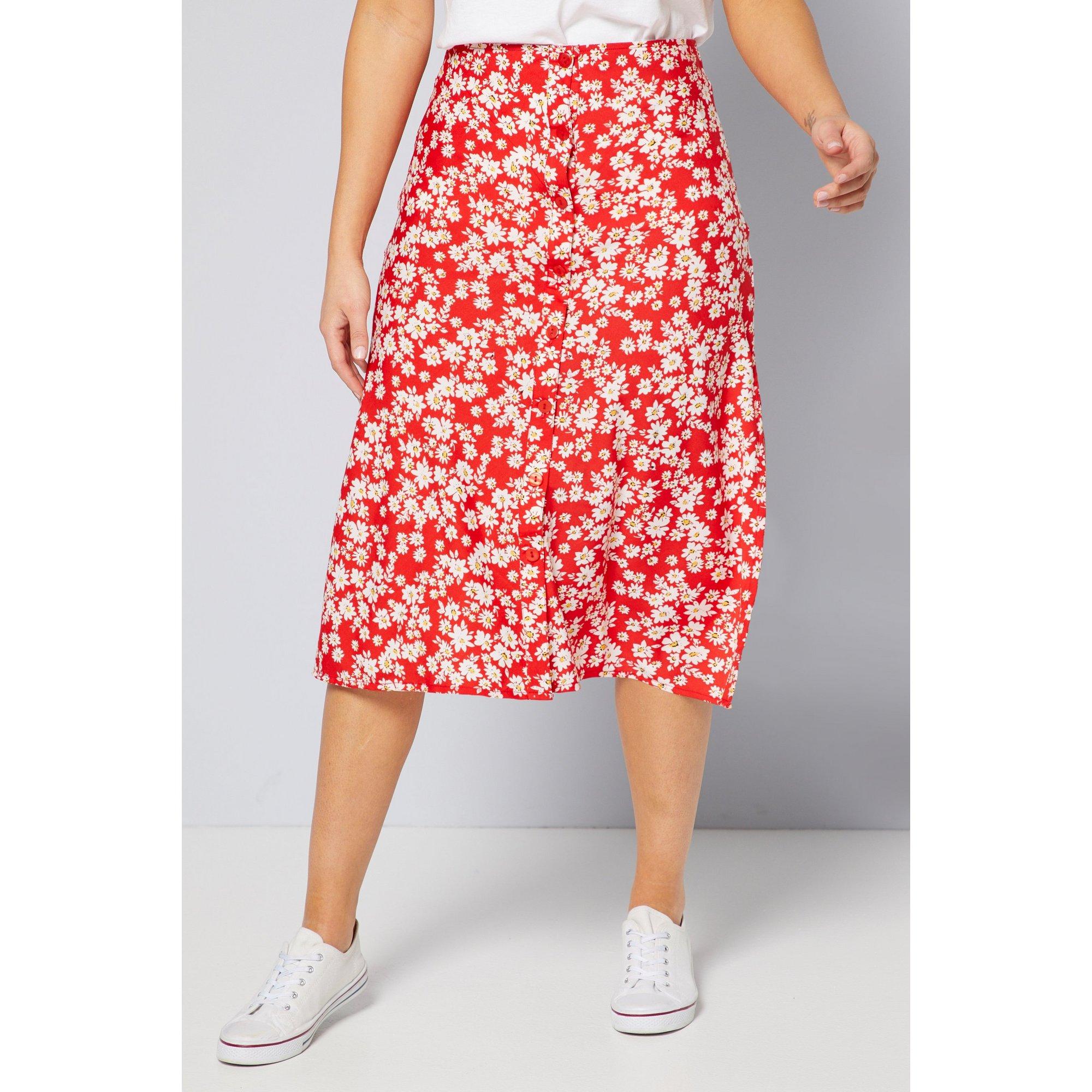 Image of Button Through Red Retro Midi Skirt