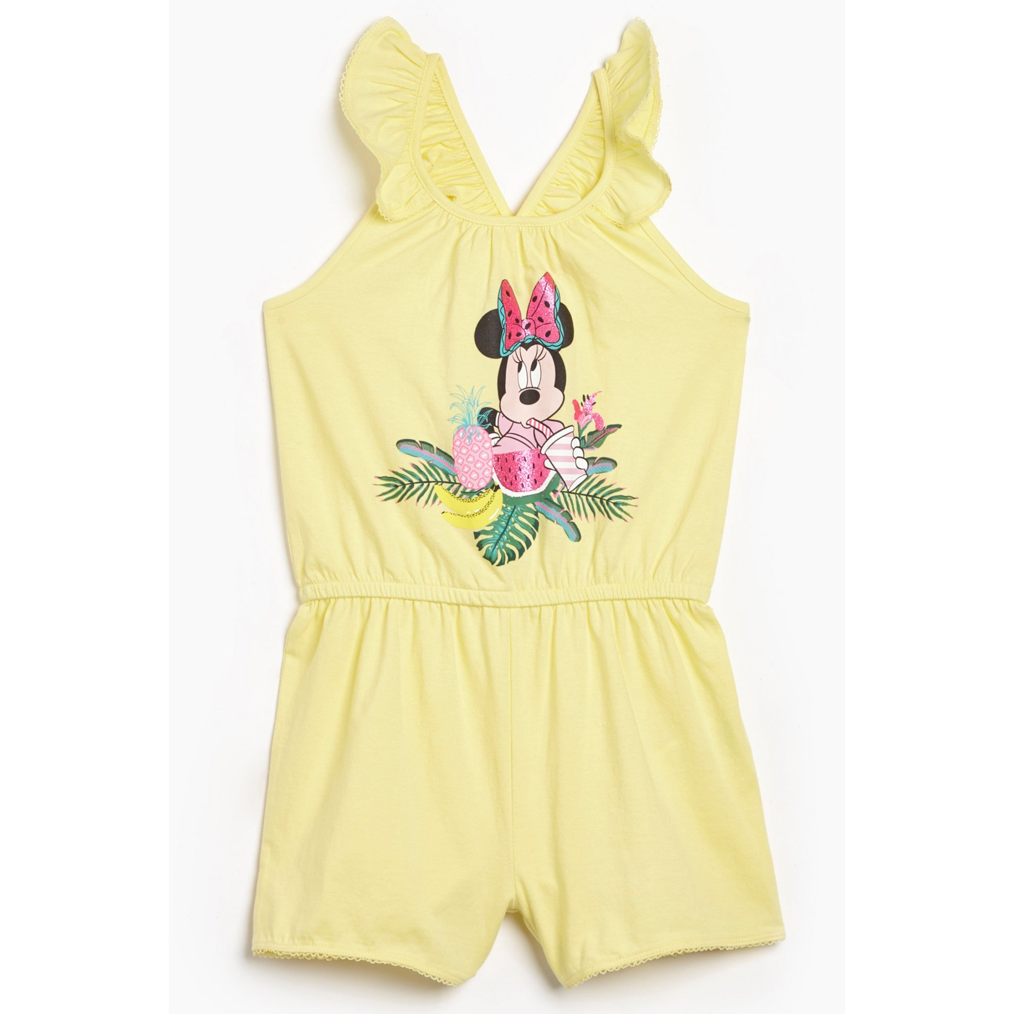 Image of Girls Minnie Mouse Tropical Frill Playsuit