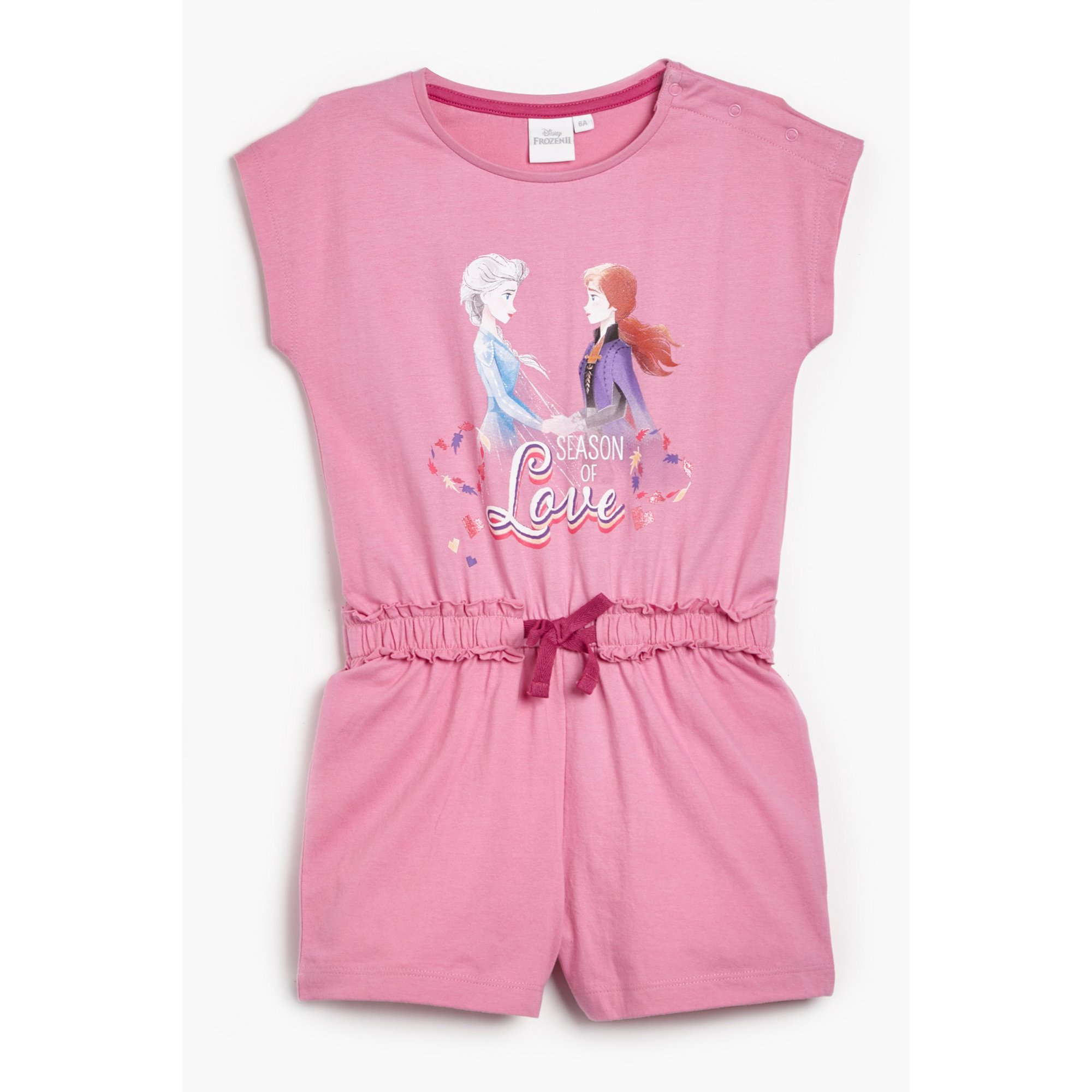 Image of Girls Frozen Season of Love Short Sleeve and Draw Cord Waist Playsuit