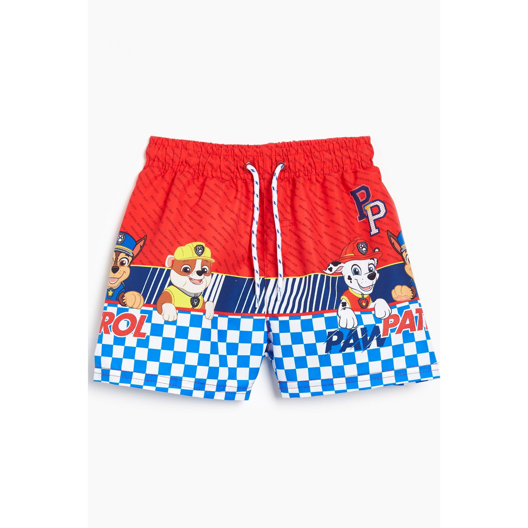 Image of Younger Boys Blue Chequered Paw Patrol Swim Shorts