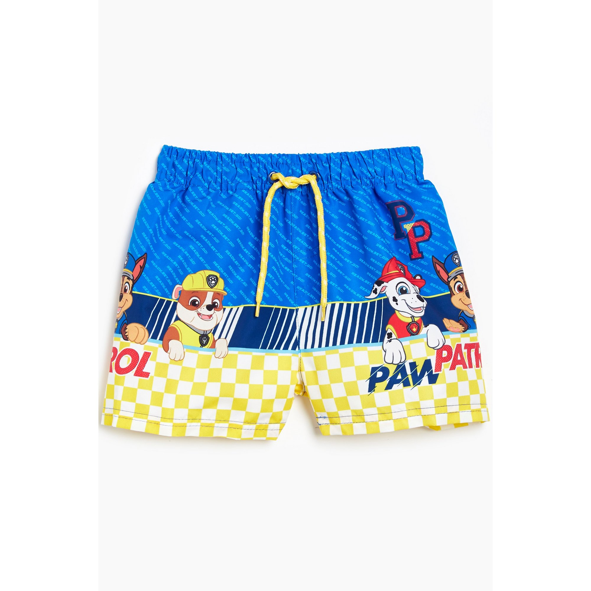 Image of Younger Boys Yellow Chequered Paw Patrol Swim Shorts