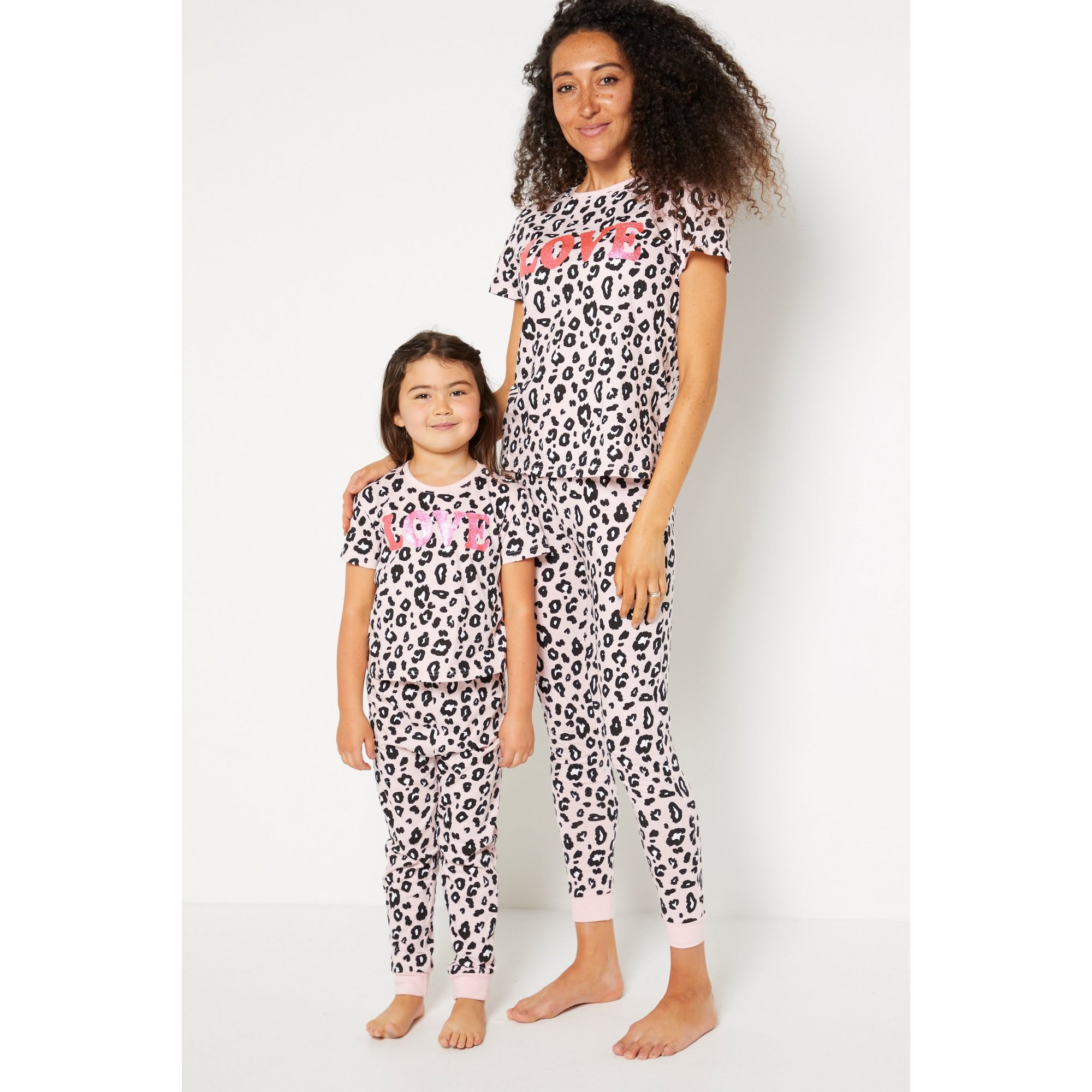 Image of Girls Mini Me Pink Leopard Love Pyjamas