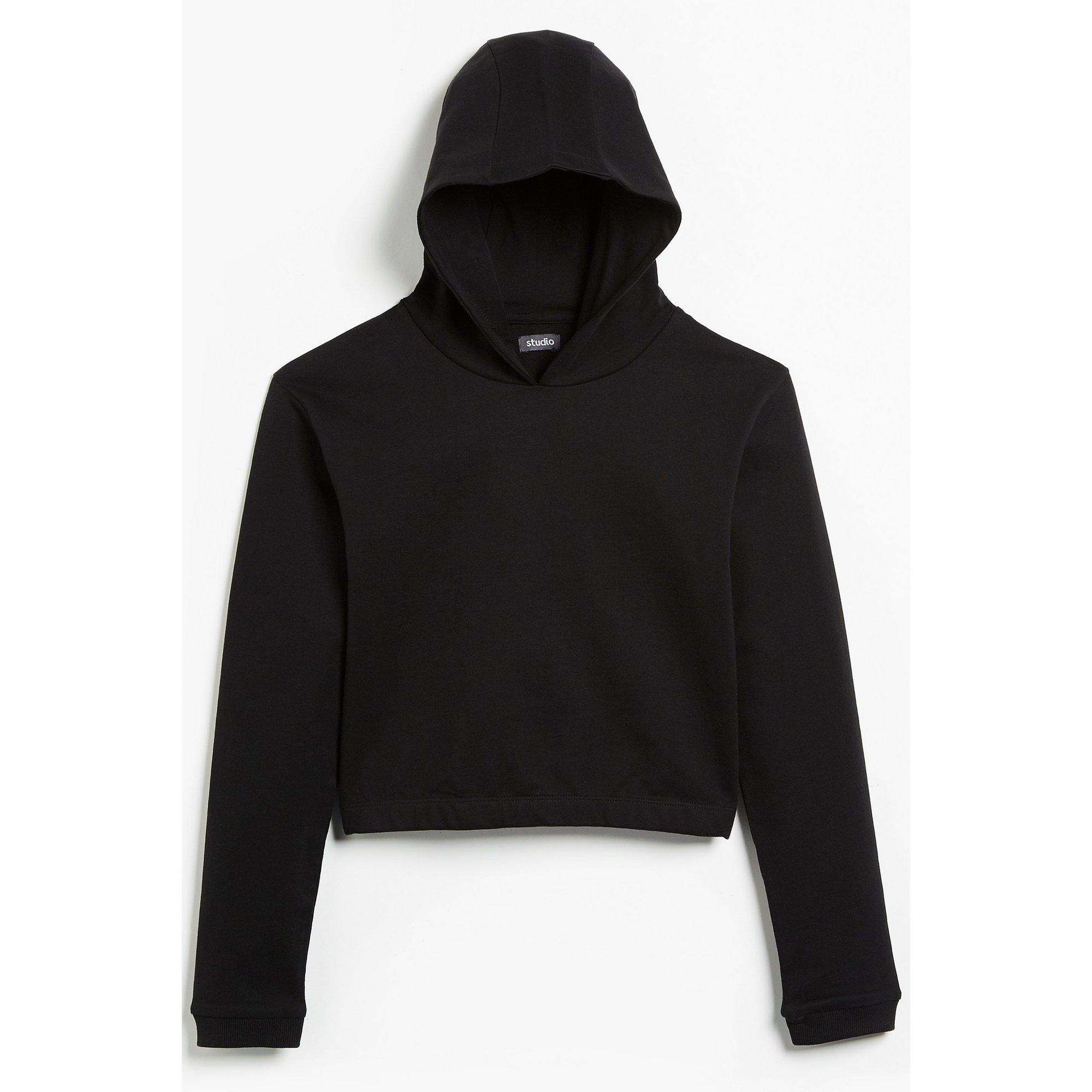 Image of Girls Essentials Black Cropped Hoody
