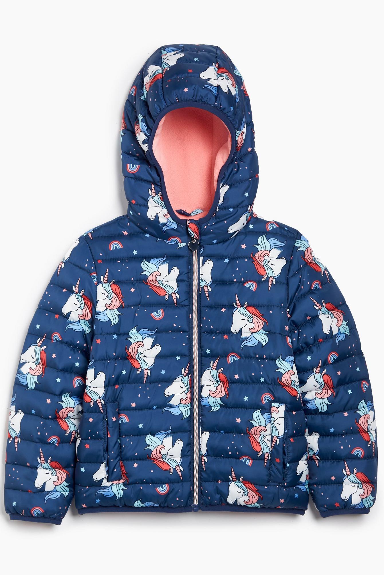 Navy blue coat with unicorn pattern