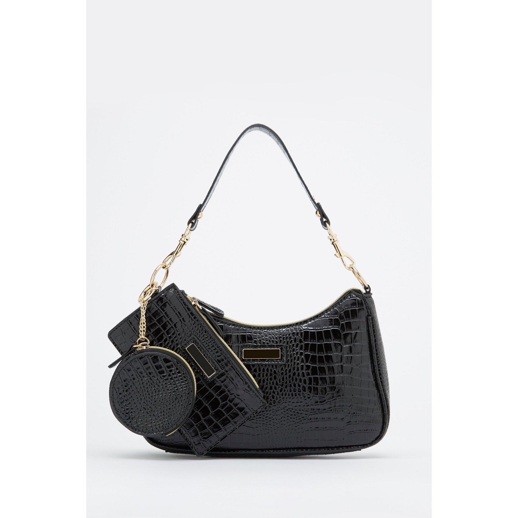 Image of 3-Piece Black Shoulder Bag&#44 Large Purse and Coin Purse Set