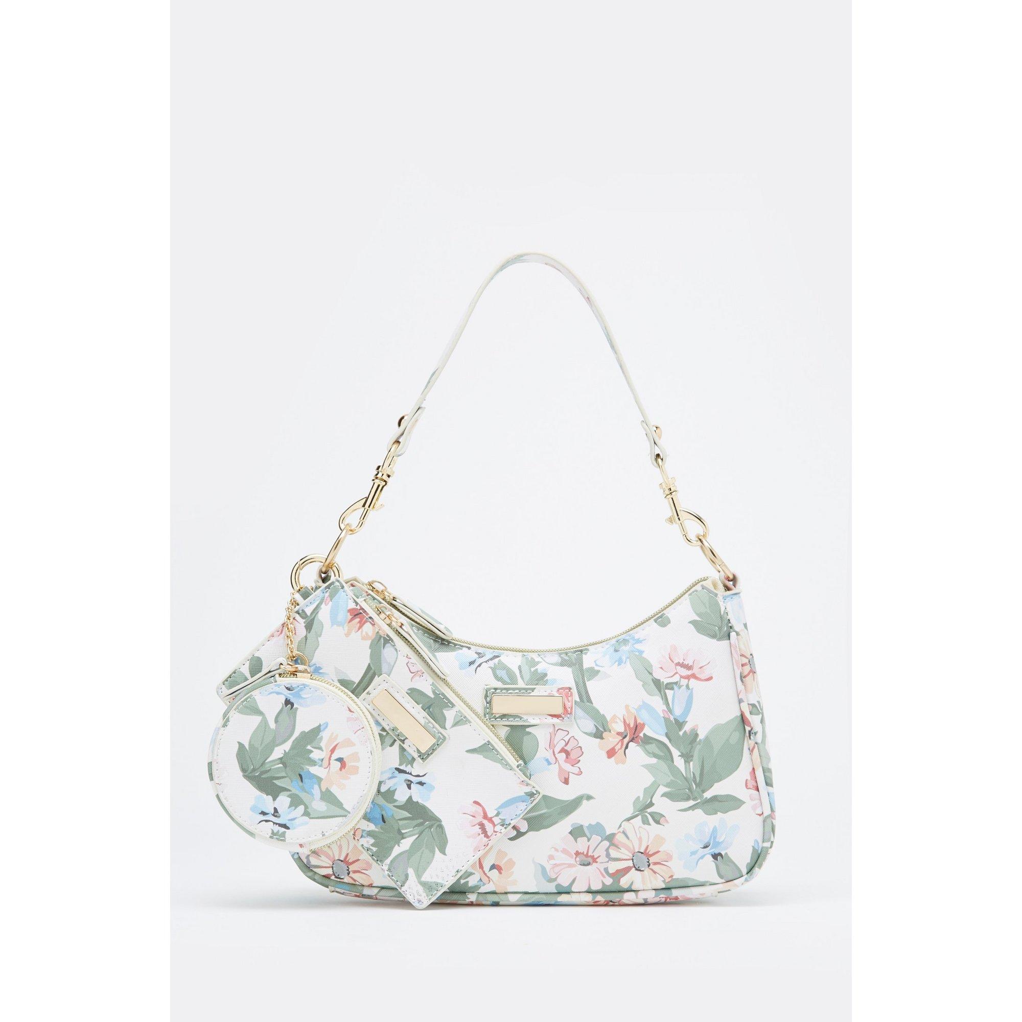Image of 3-Piece Cream Floral Shoulder Bag&#44 Large Purse and Coin Purse Set